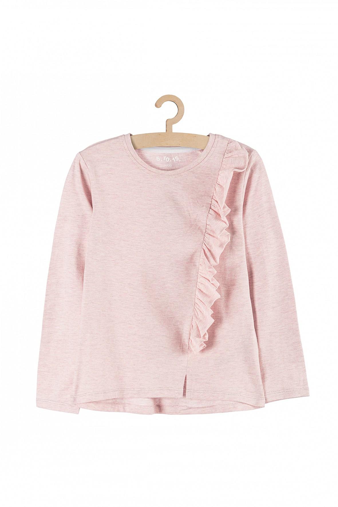 Bluzka dziewczęca różowy melange i ozdobna falbanka