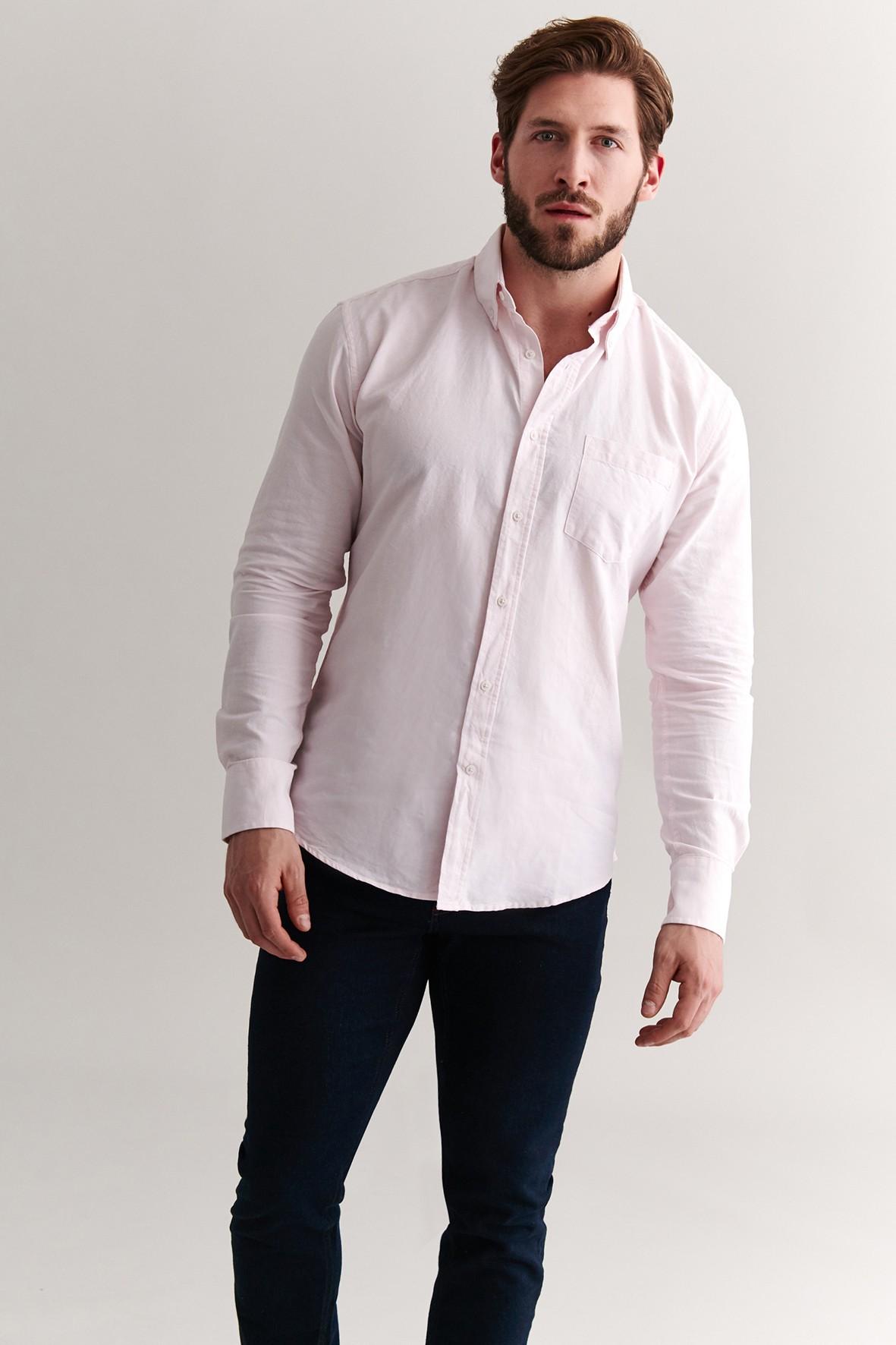 Bawełniana koszula męska - różowa Tatuum