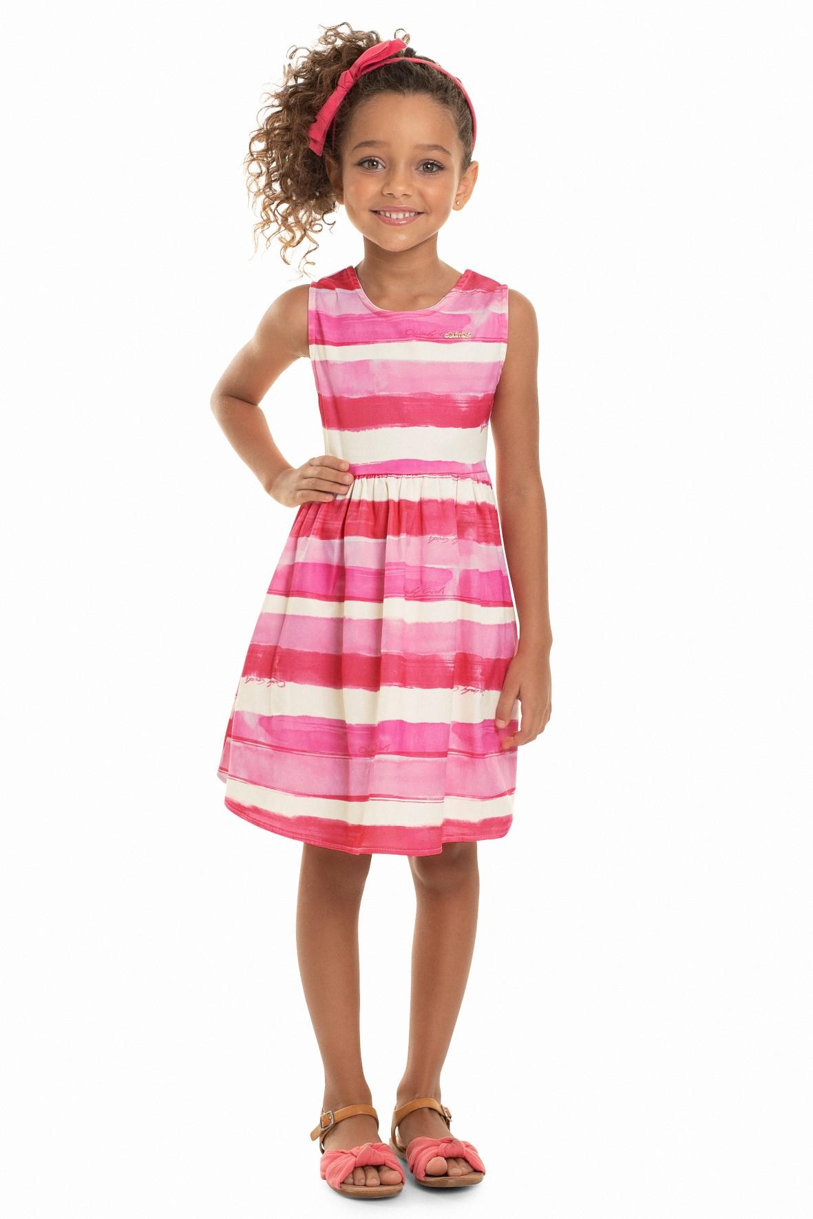 Sukienka dziewczęca różowa w paski