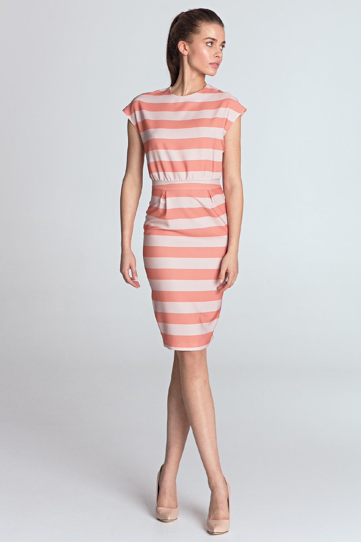 Letnia ołówkowa sukienka damska w paski