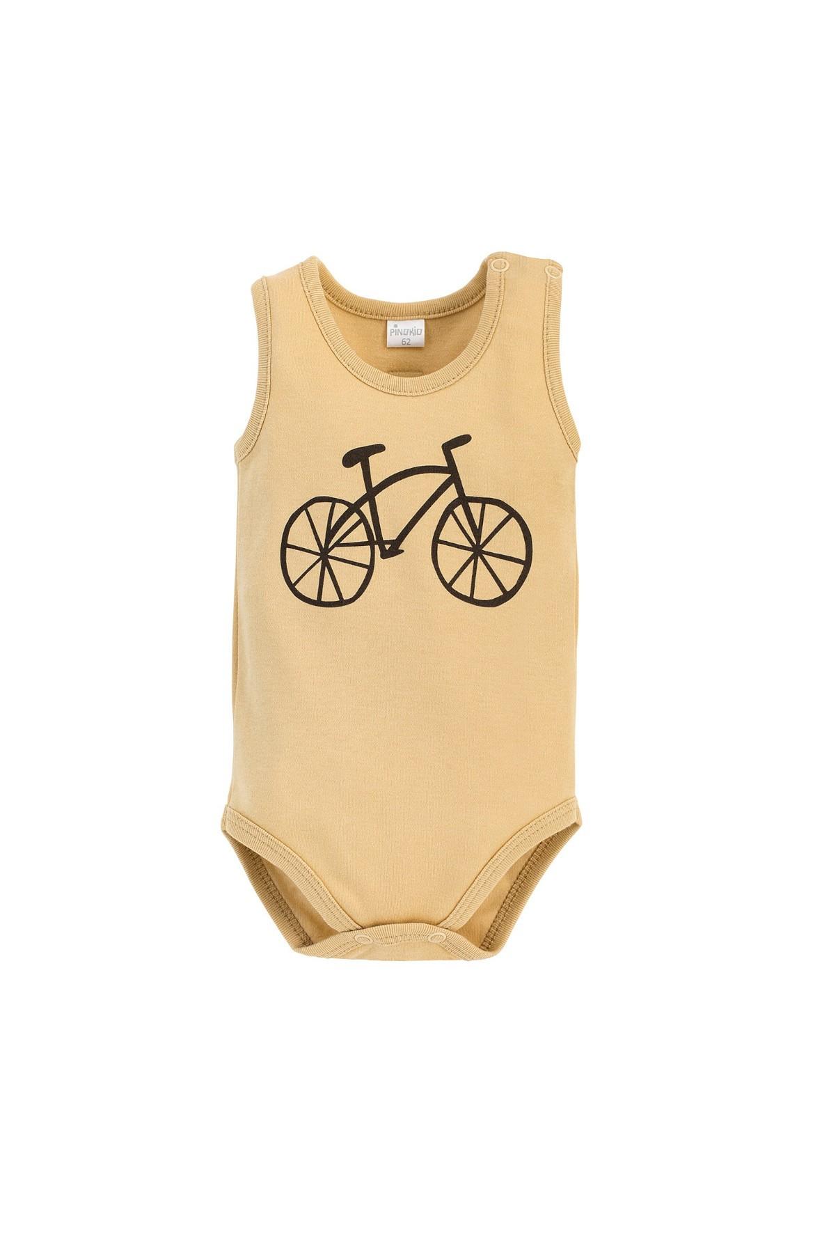 Żółte body niemowlęce na ramiączkach, ze 100% miękkiej bawełny