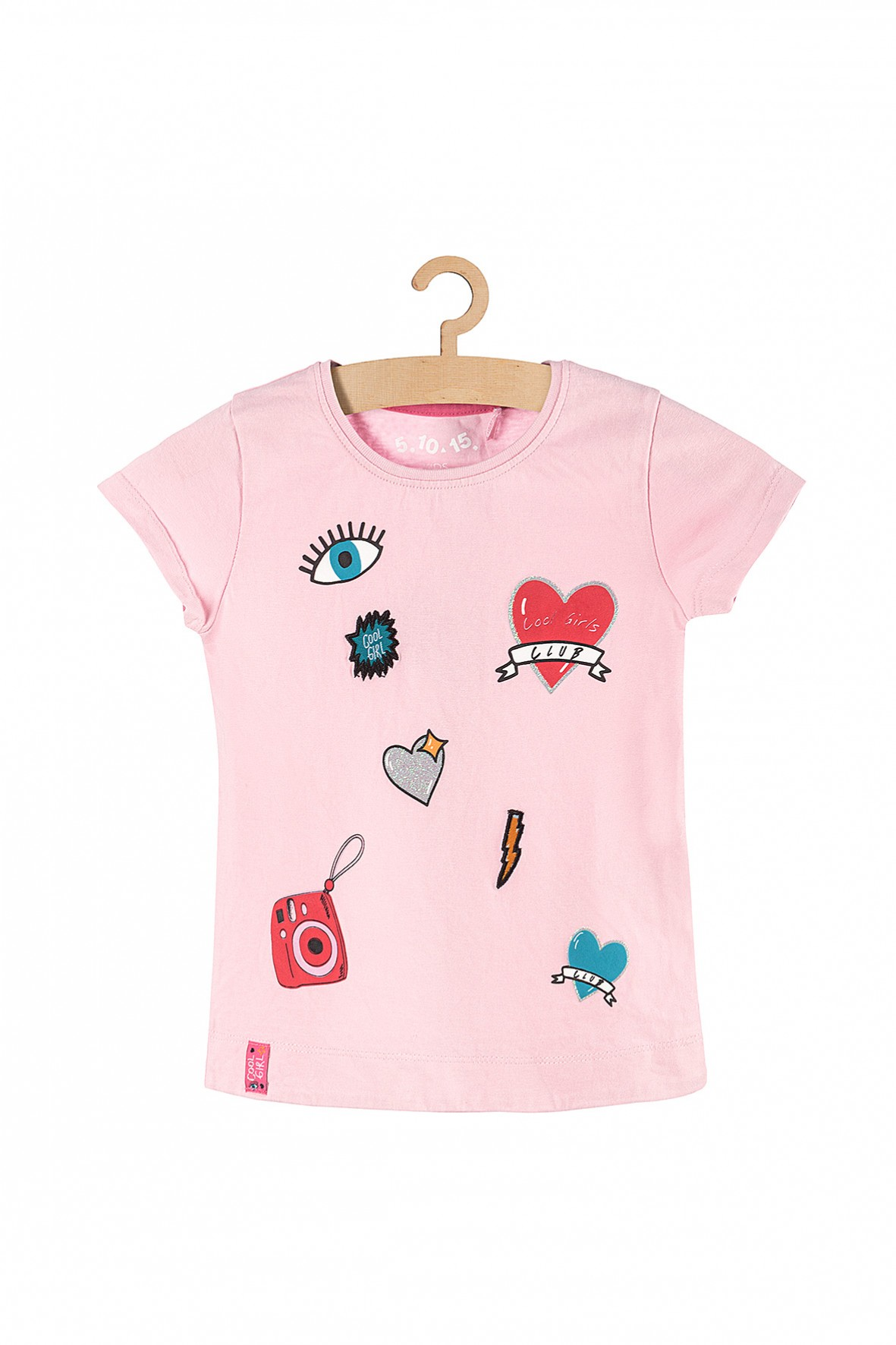 T-shirt dla dziewczynki- różowy z kolorowymi nadrukami