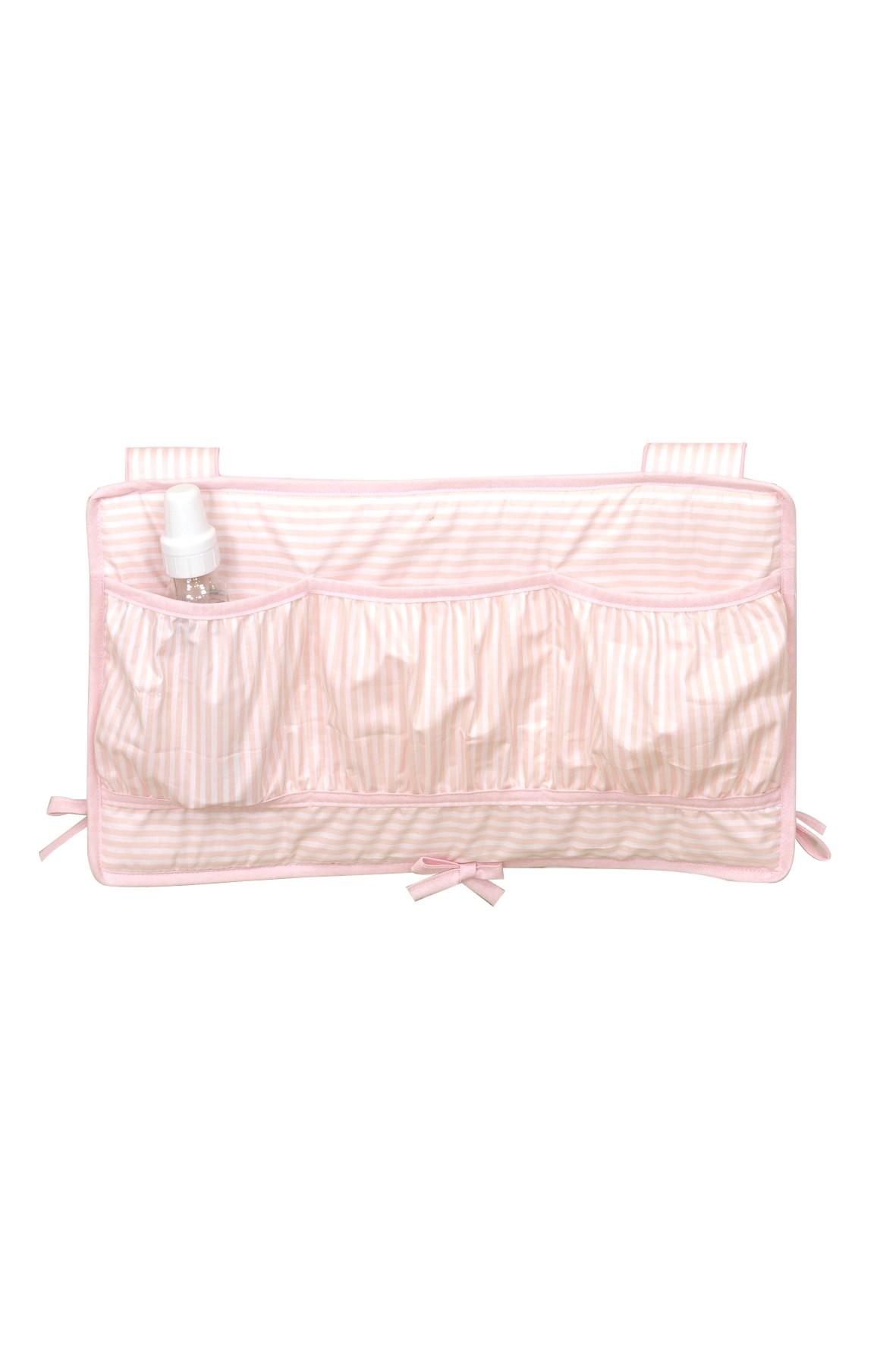 Przybornik na łóżeczko- różowy w paski