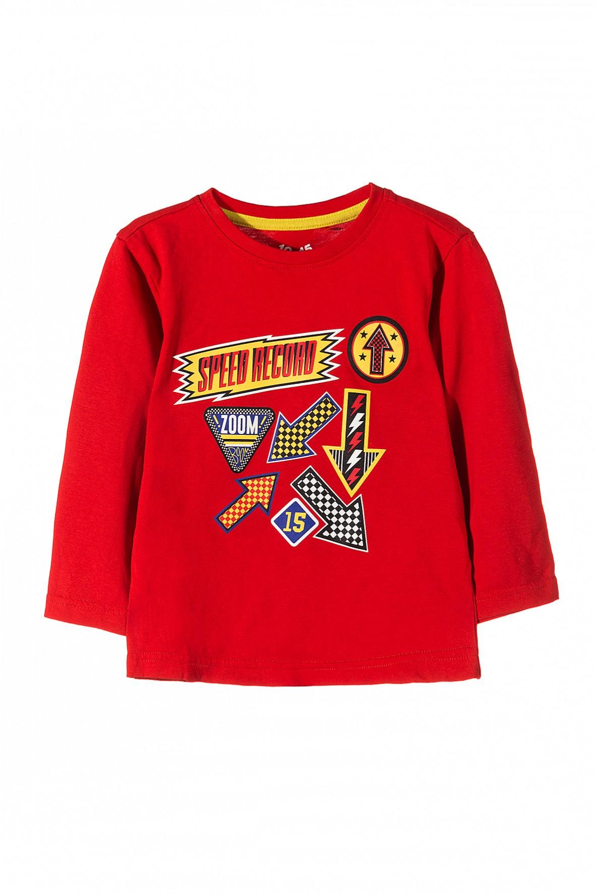 Czerwona bluzka z długim rękawem z moto motywami z przodu