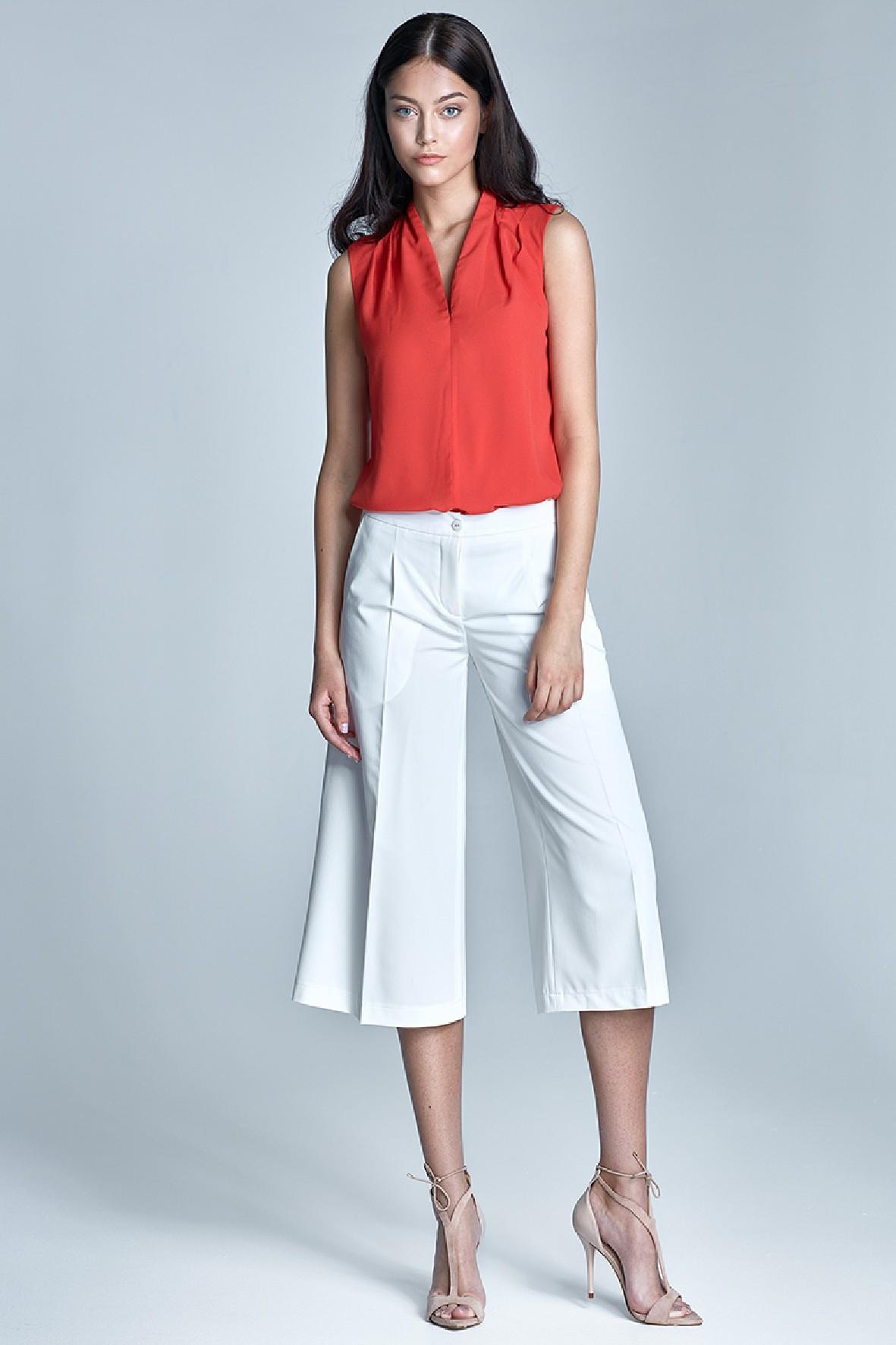 Damskie spodnie culottes w kolorze ecru