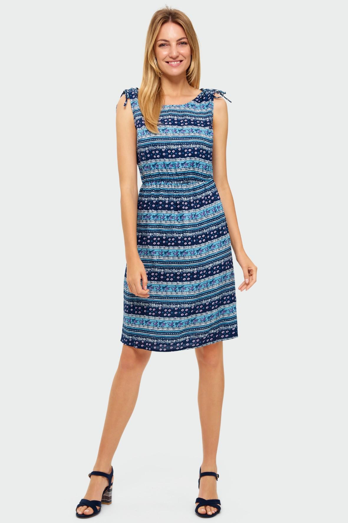 Wiskozowa sukienka z nadrukiem z wiązaniem na ramionach