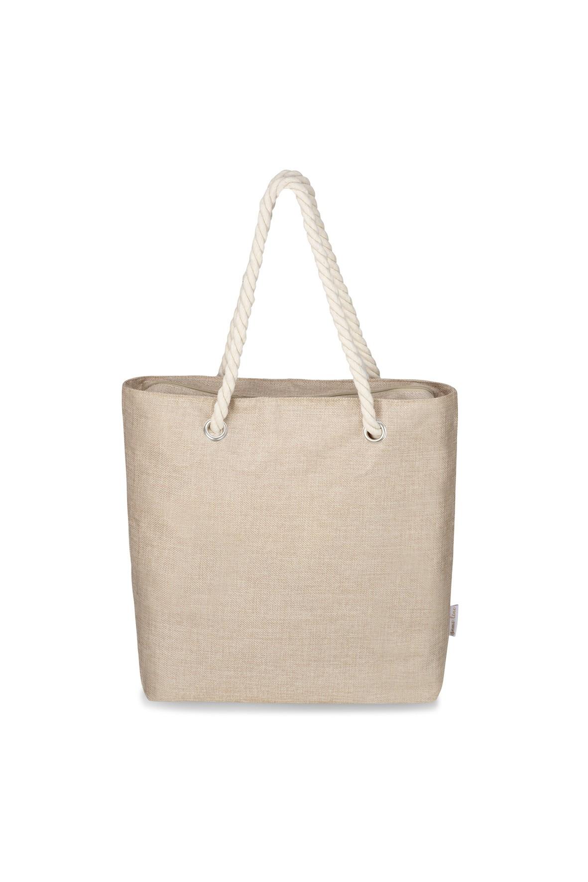 Jednokomorwa torba na ramię - beżowa