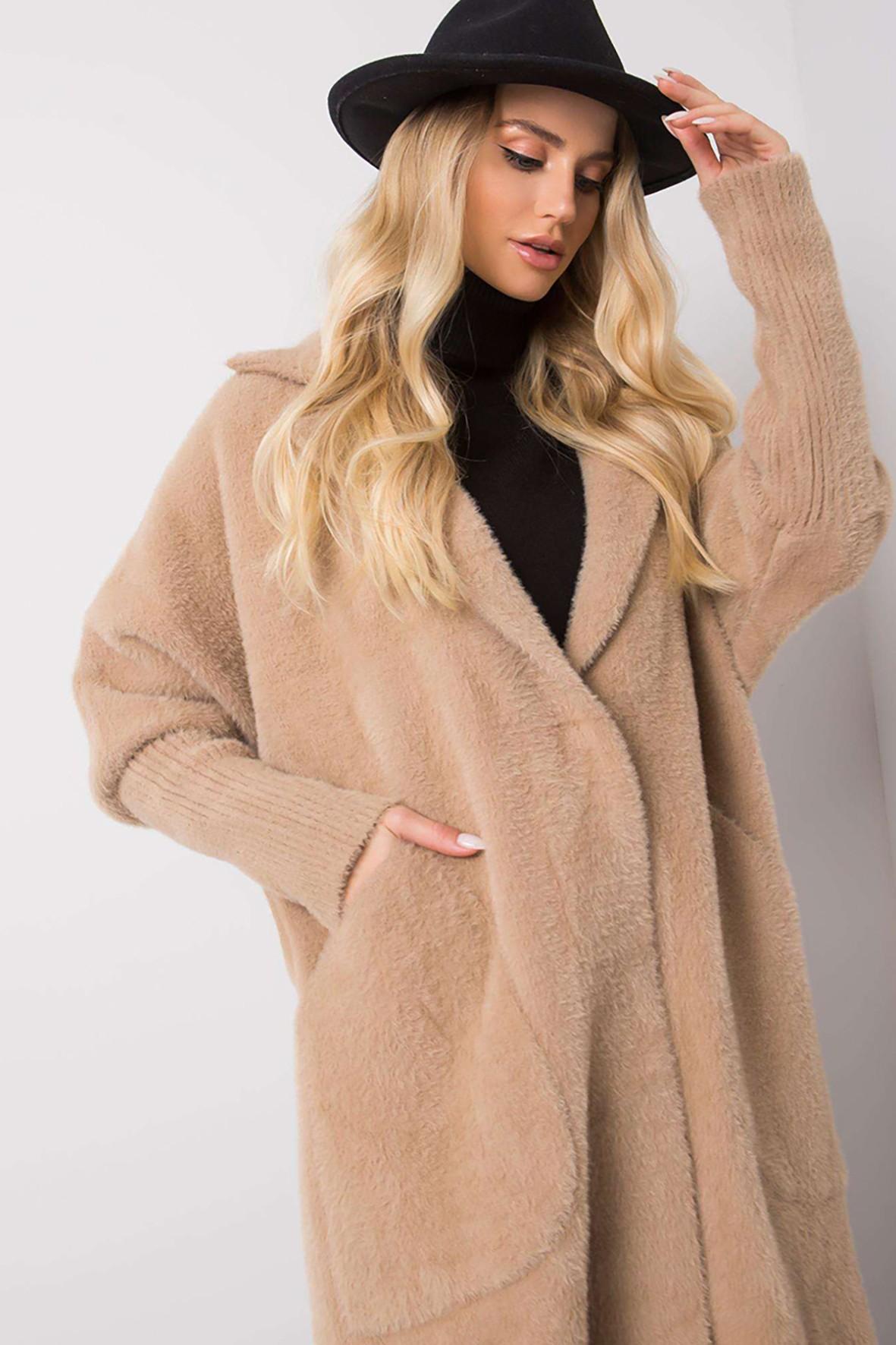 Beżowy płaszcz alpaka z kieszeniami rozmiar S/M