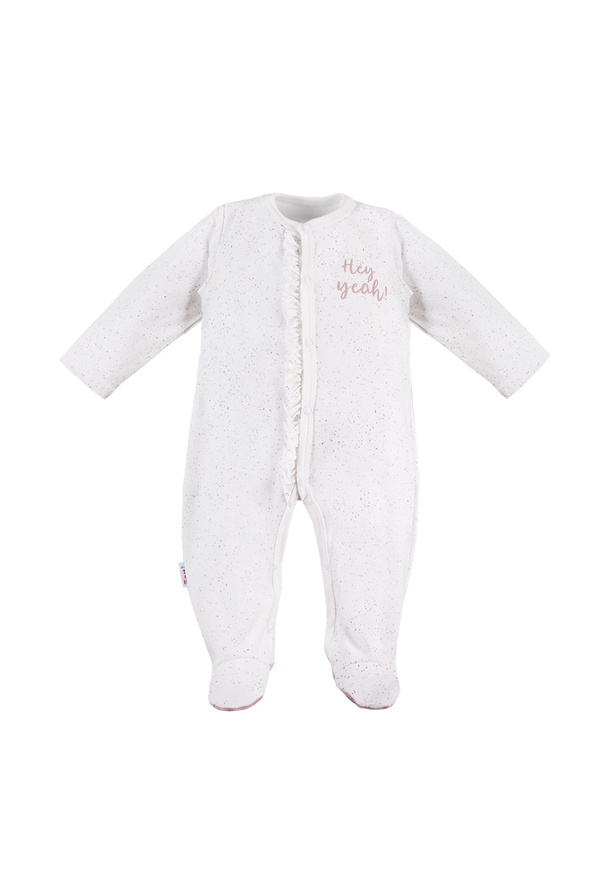Pajac niemowlęcy biały nakrapiany- rozpinany