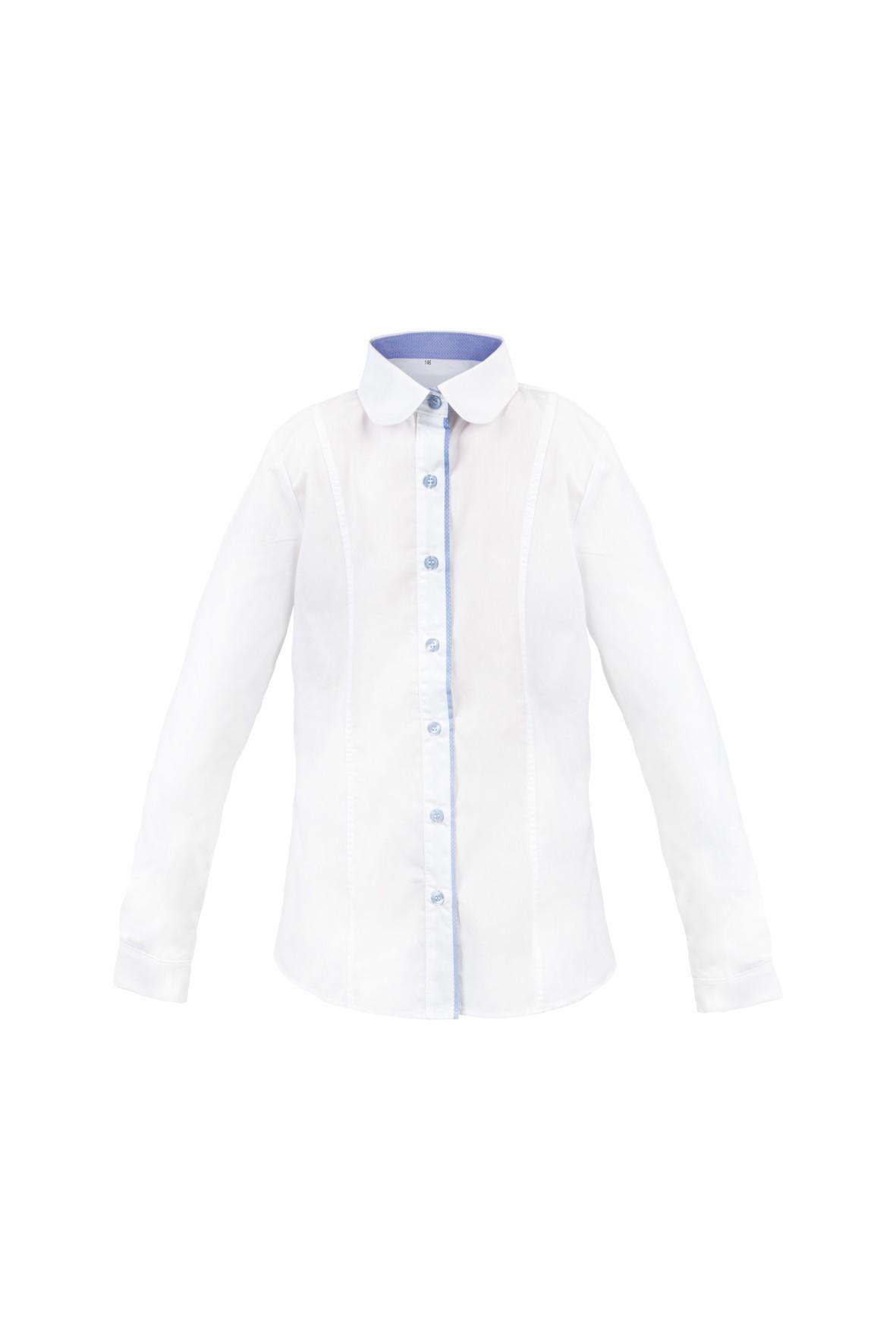 Biała dziewczęca koszula z niebieskimi elementami