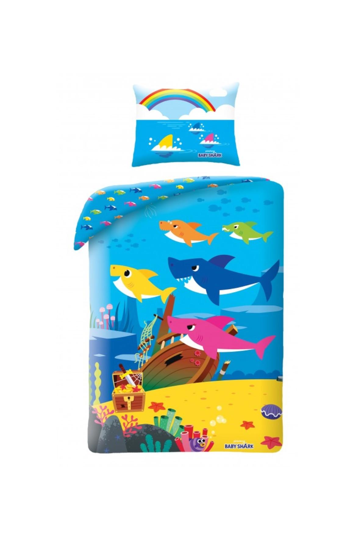 Komplet pościeli Baby Shark- pościel - poduszka 140x200cm+70x90cm