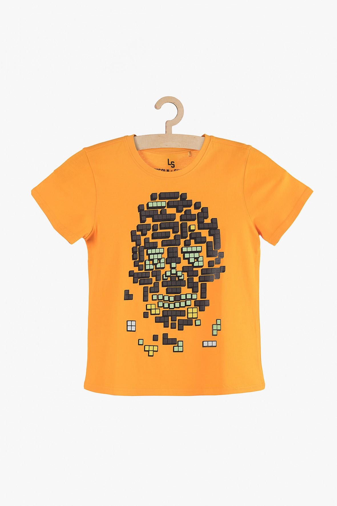 T-shirt chłopięcy pomarańczowy z grafiką z przodu
