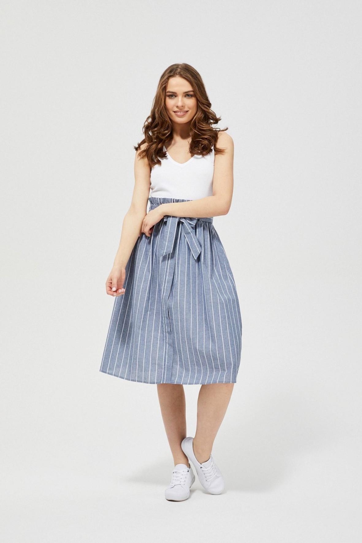 Spódnica damska bawełniana w paski niebieska