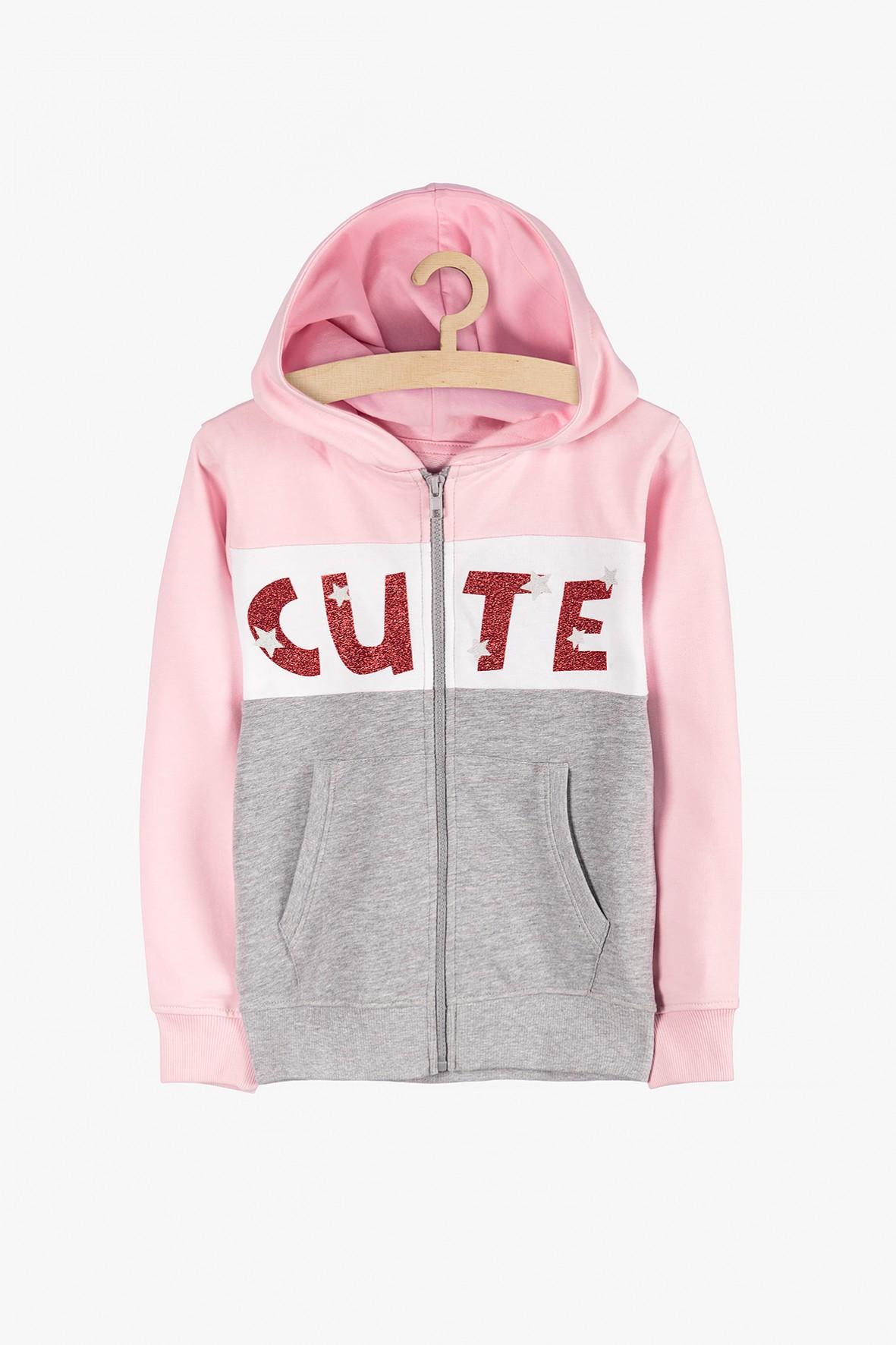 Sportowa bluza dla dziewczynki- brokatowy napis