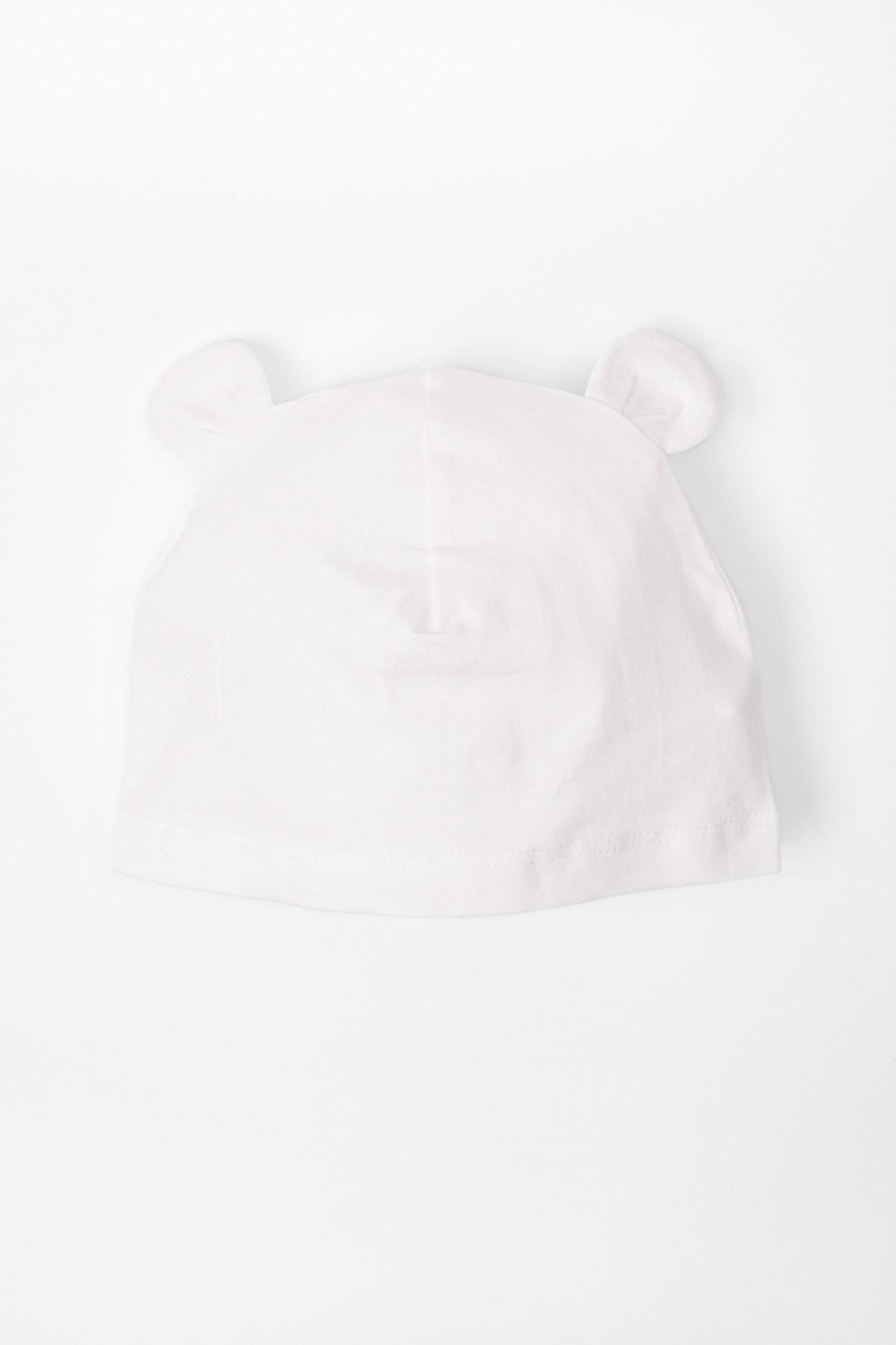Czapka niemowlęca biała z uszkami