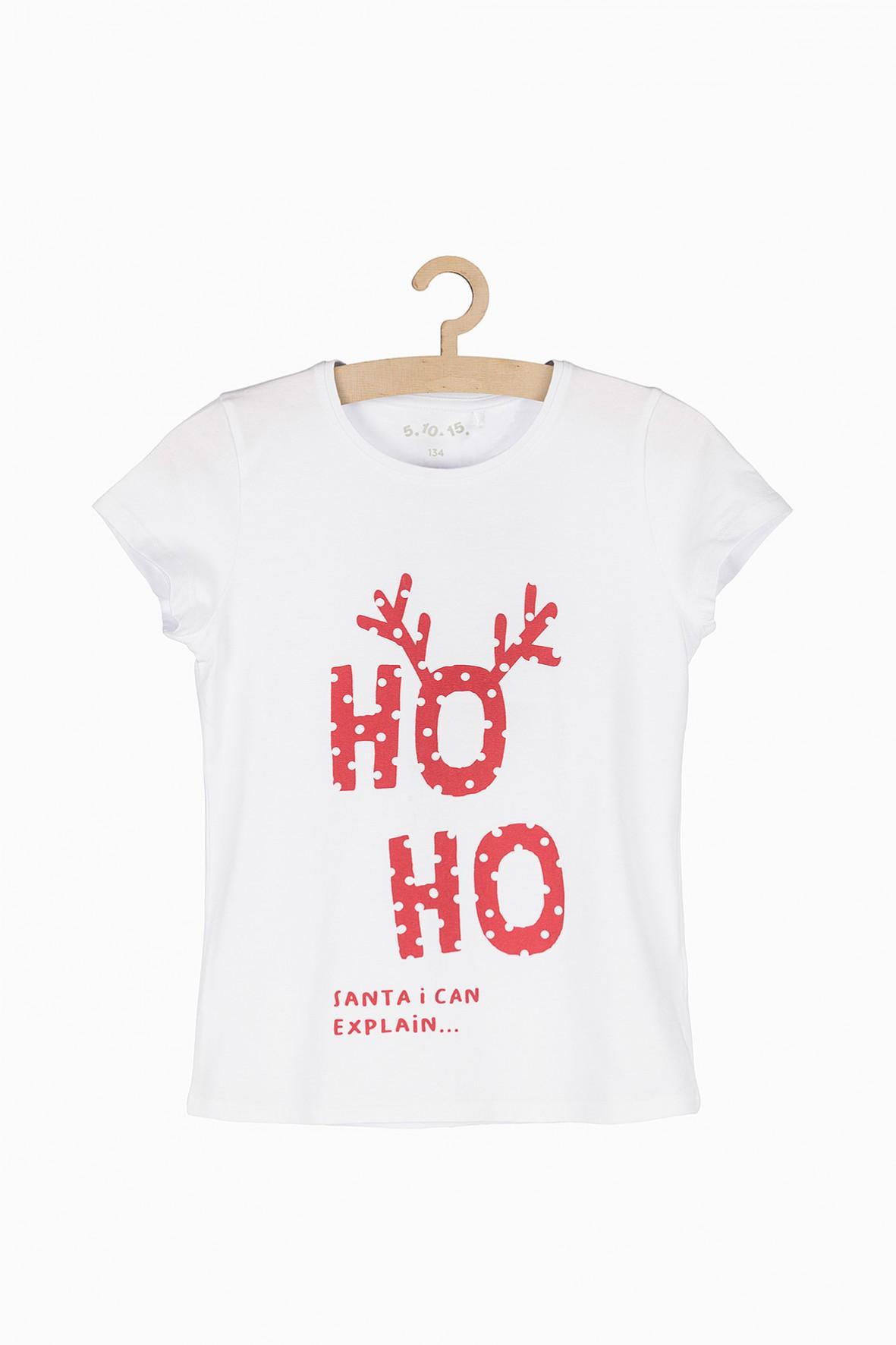 T-shirt dla dziewczynki-biały z motywem świąteczny
