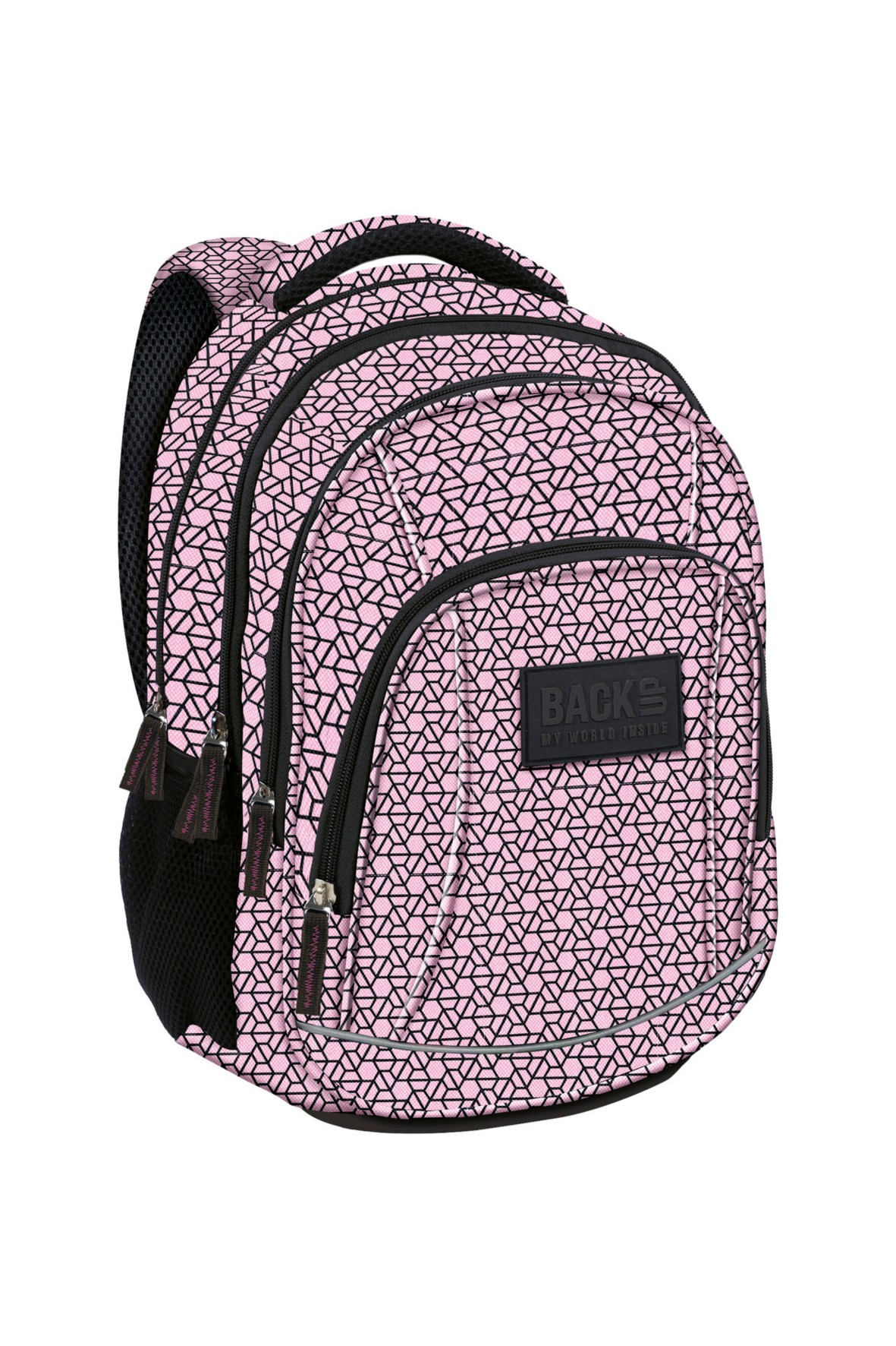 Plecak dziewczęcy różowy w symetryczne wzory- 4komory