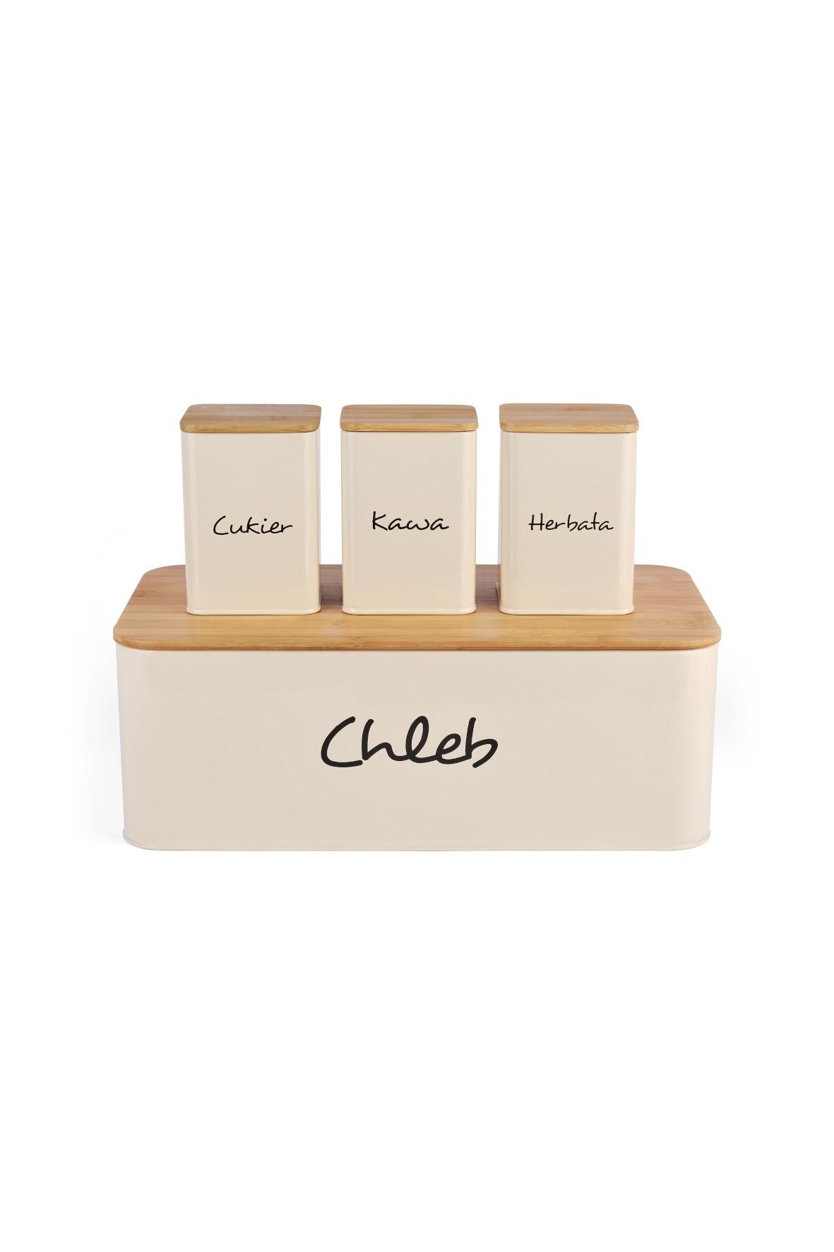 Bambusowy chlebak i 3 metalowe pojemniki na produkty sypkie - kolor kremowy