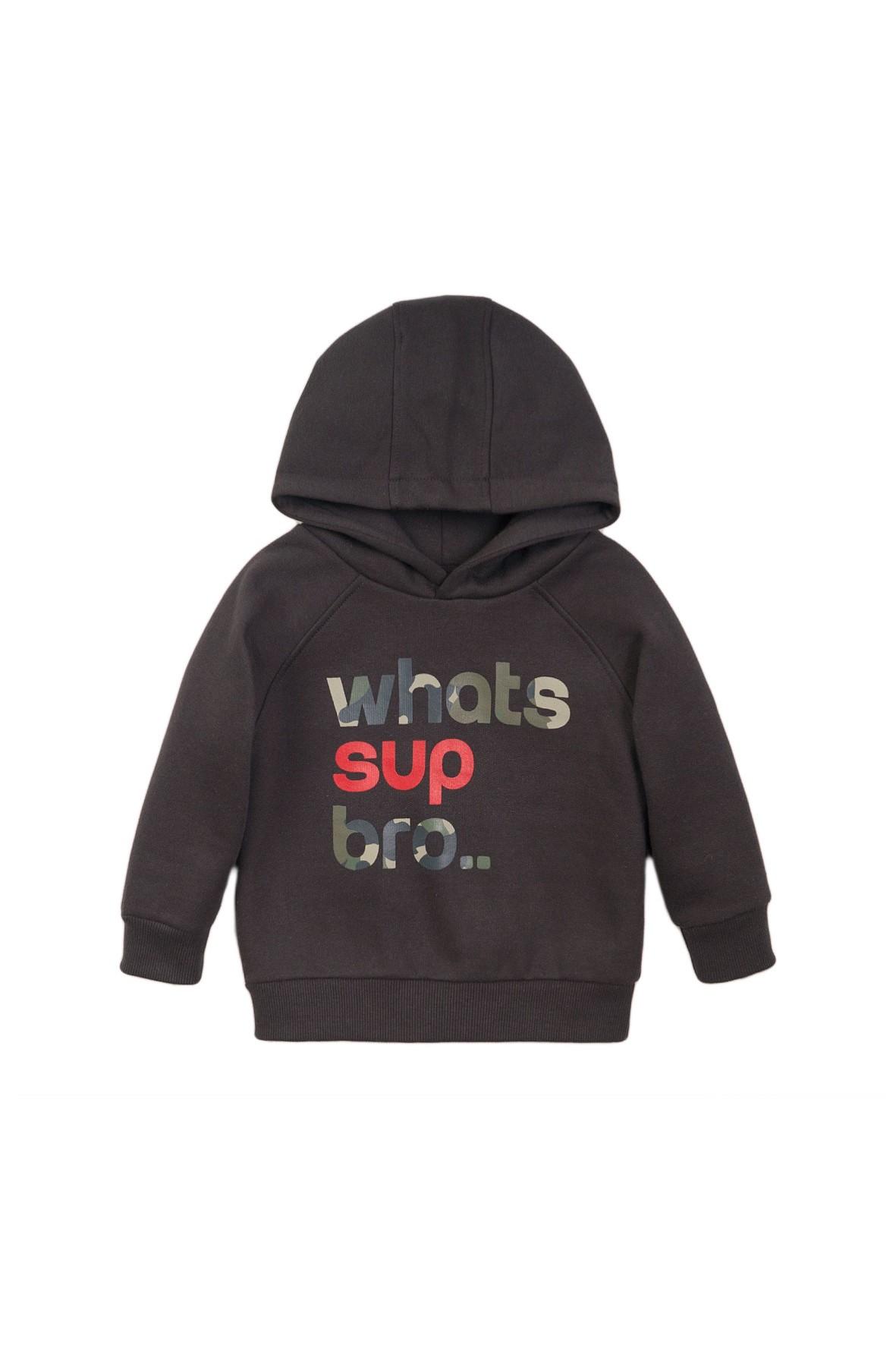 Bluza dresowa chłopięca czarna z napisami moro