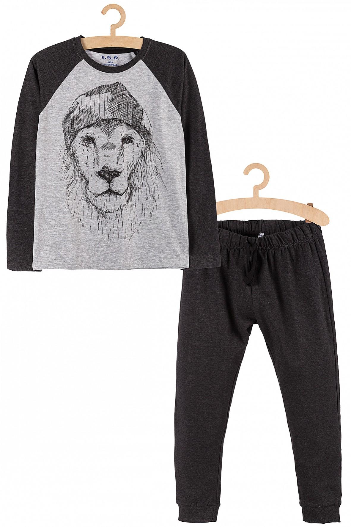 Piżama dla chłopca- szara z lwem