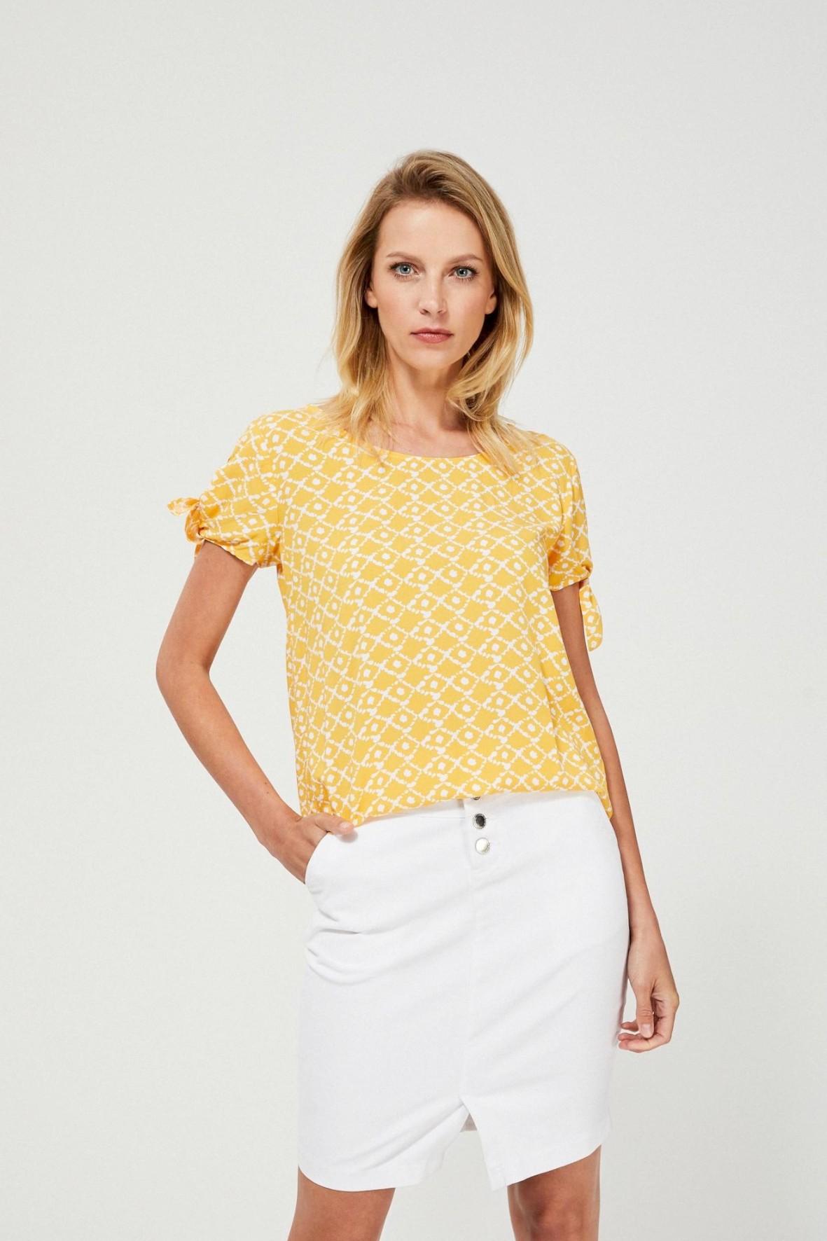 Bluzka damska koszulowa z wiązaniem przy rękawach żółta