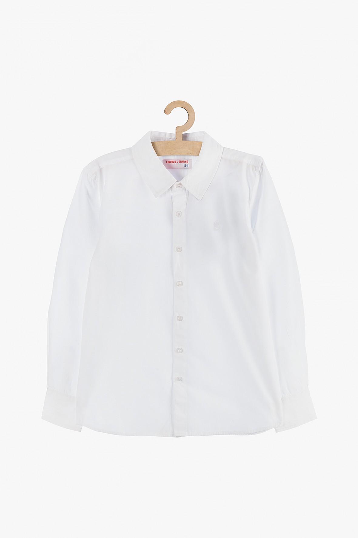 Koszula chłopięca rozpinana biała-elegancka