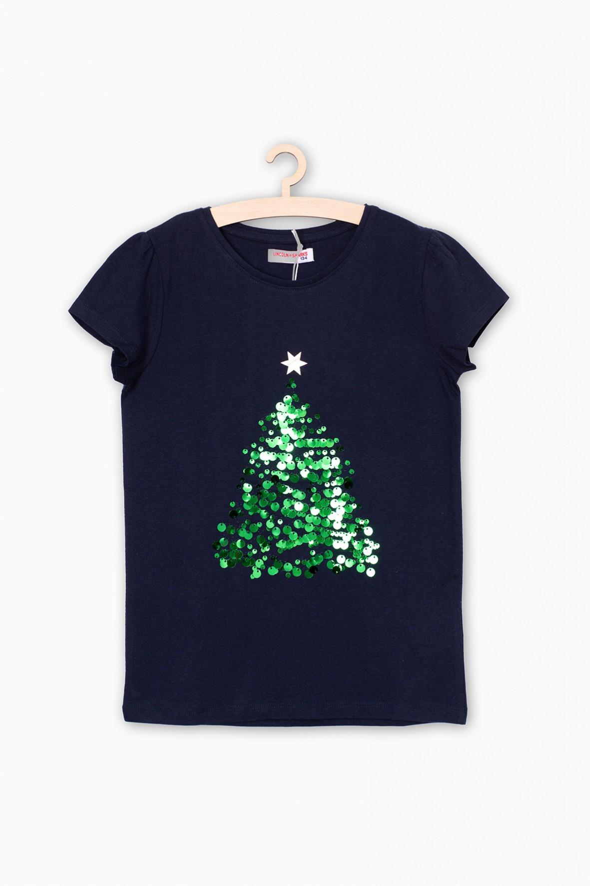 Granatowy t-shirt dziewczęcy z cekinową choinką