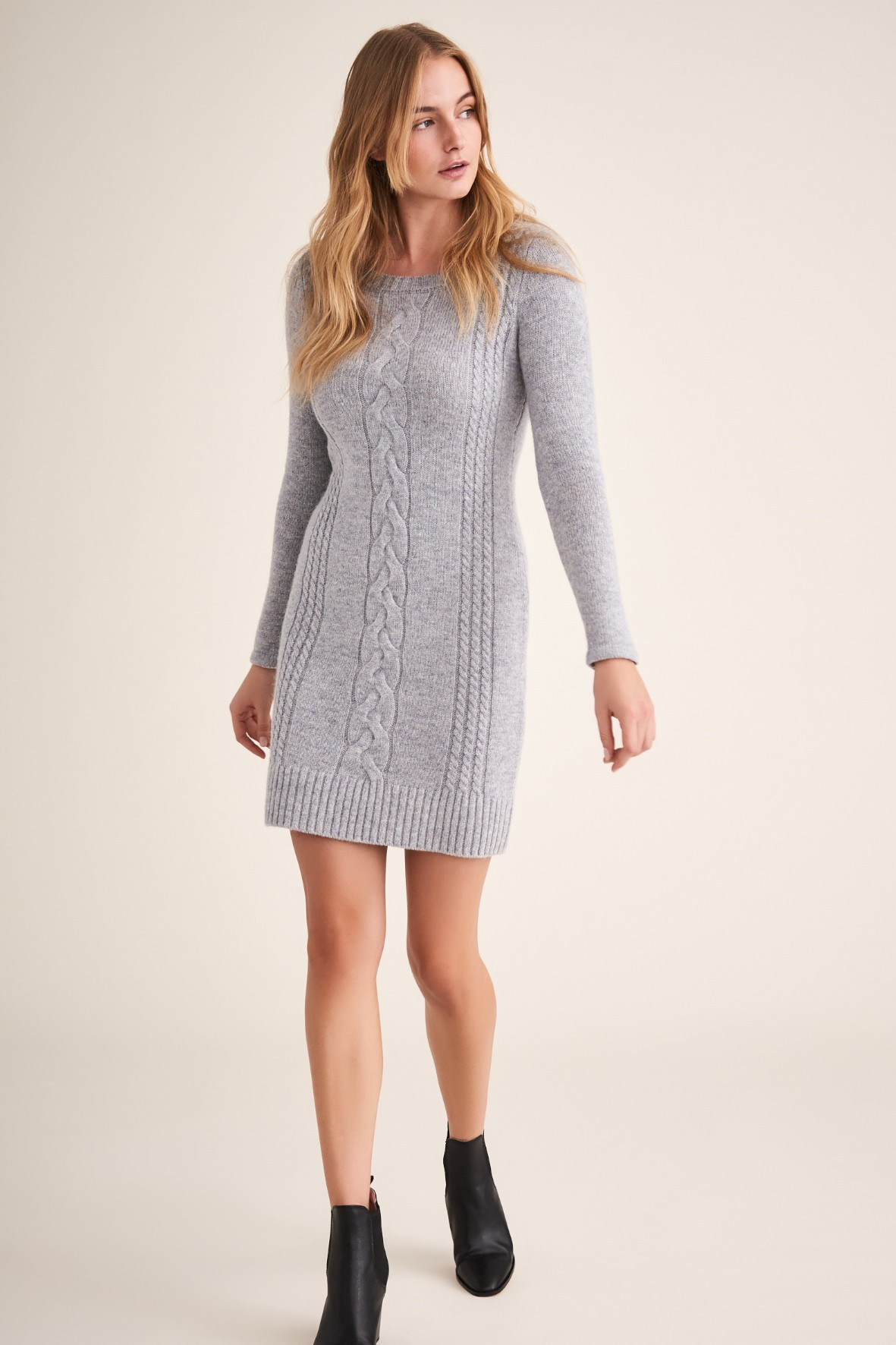 Sukienka damska swetrowa - szara