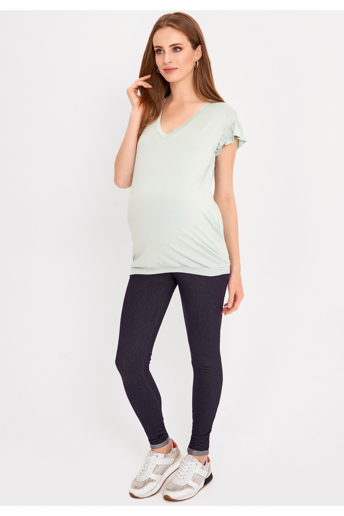 T-shirt ciążowy i dla karmiącej mamy w pastelowym odcieniu mięty