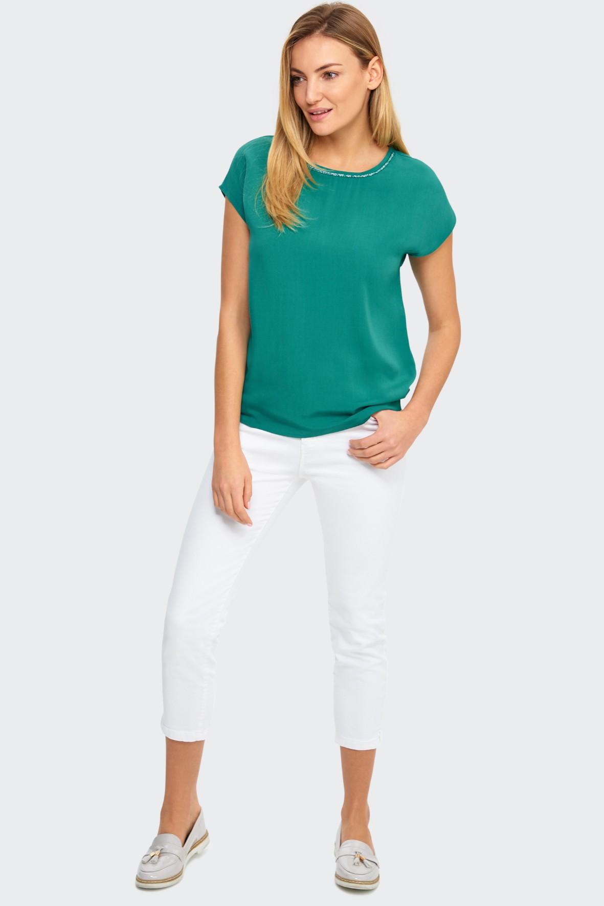 Bluzka damska zielona z ozdobną taśmą