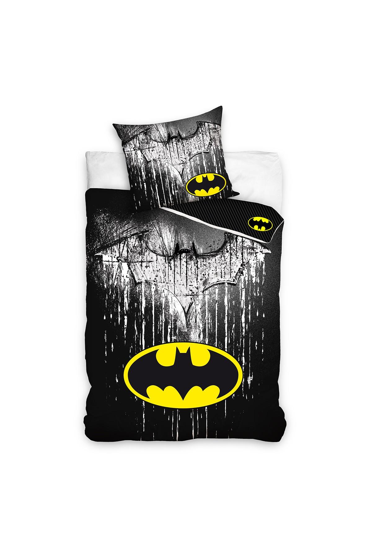 Komplet pościeli bawełnianej Batman 140x200+70x90 cm