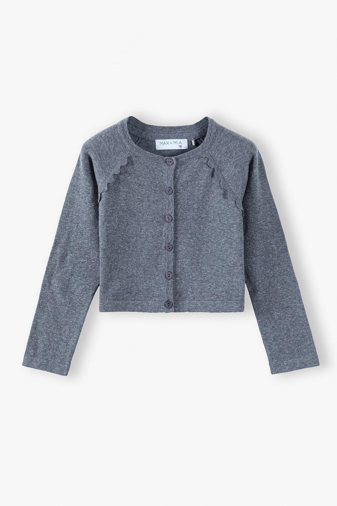Szary sweter dziewczęcy zapinany na guziki