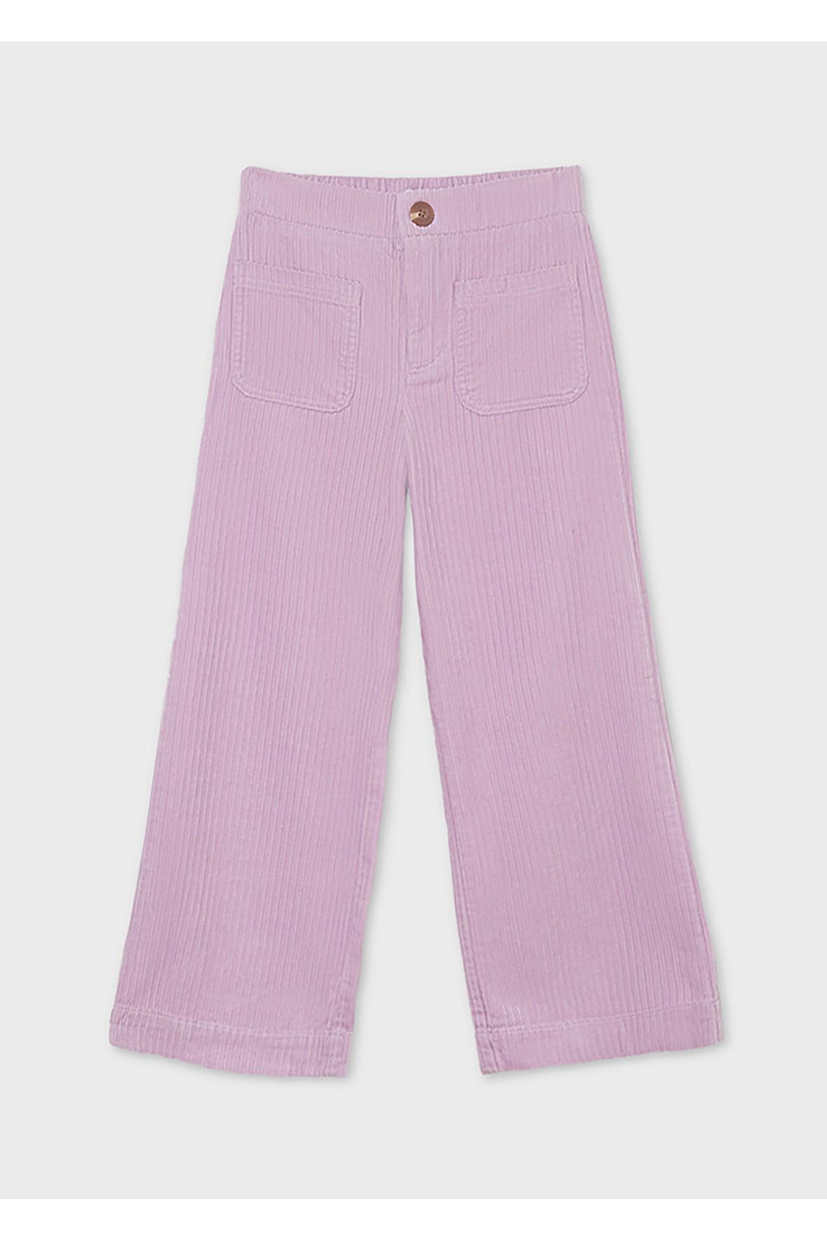 Bawełniane spodnie dziewczęce z ozdobnym paskiem - fioletowe