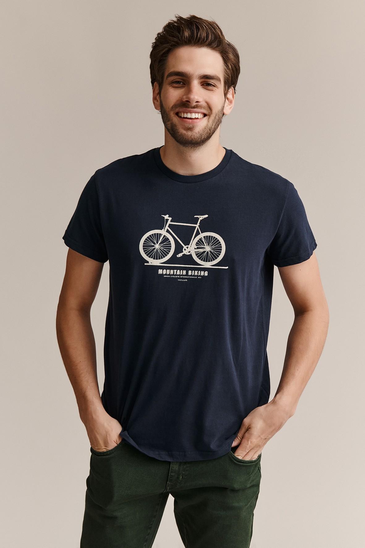 Bawełniany t-shirt męski z rowerem - granatowy