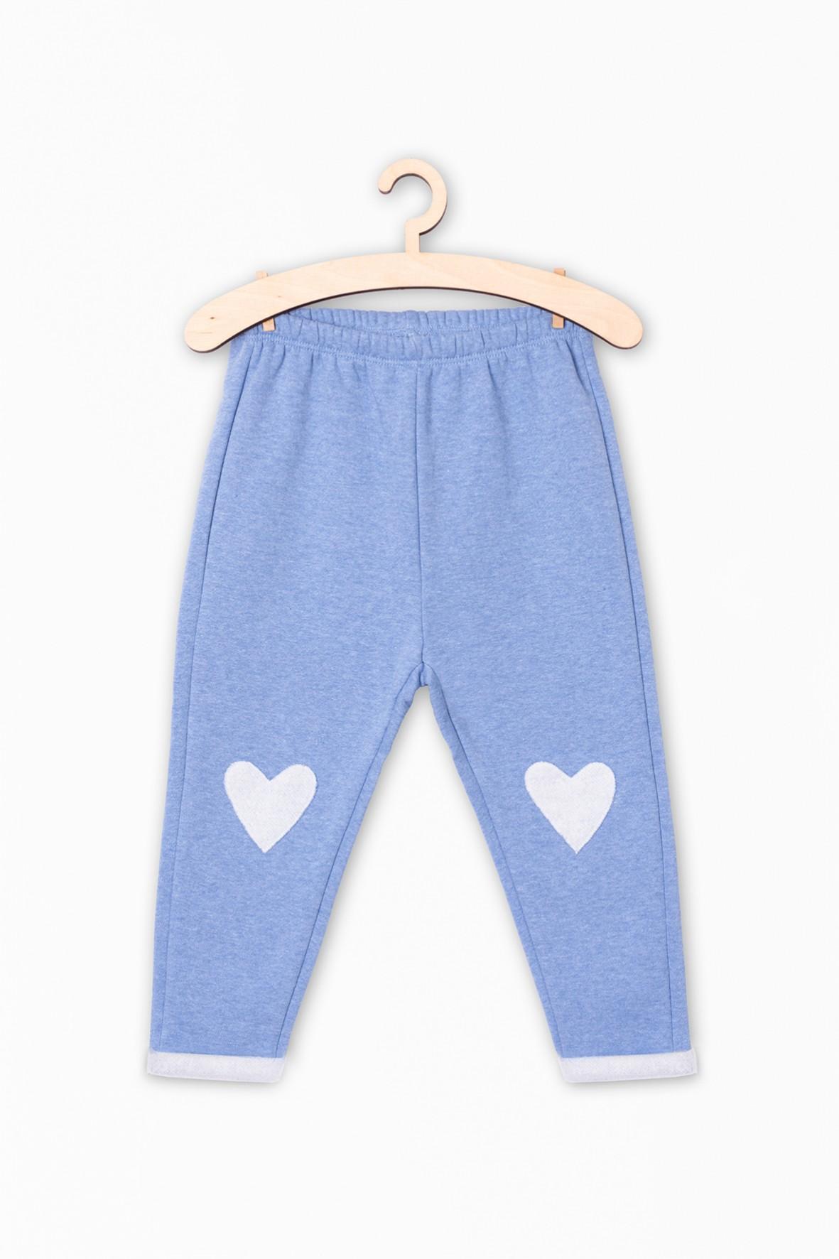 Dzianinowe spodnie dresowe dla dziewczynki- niebieskie