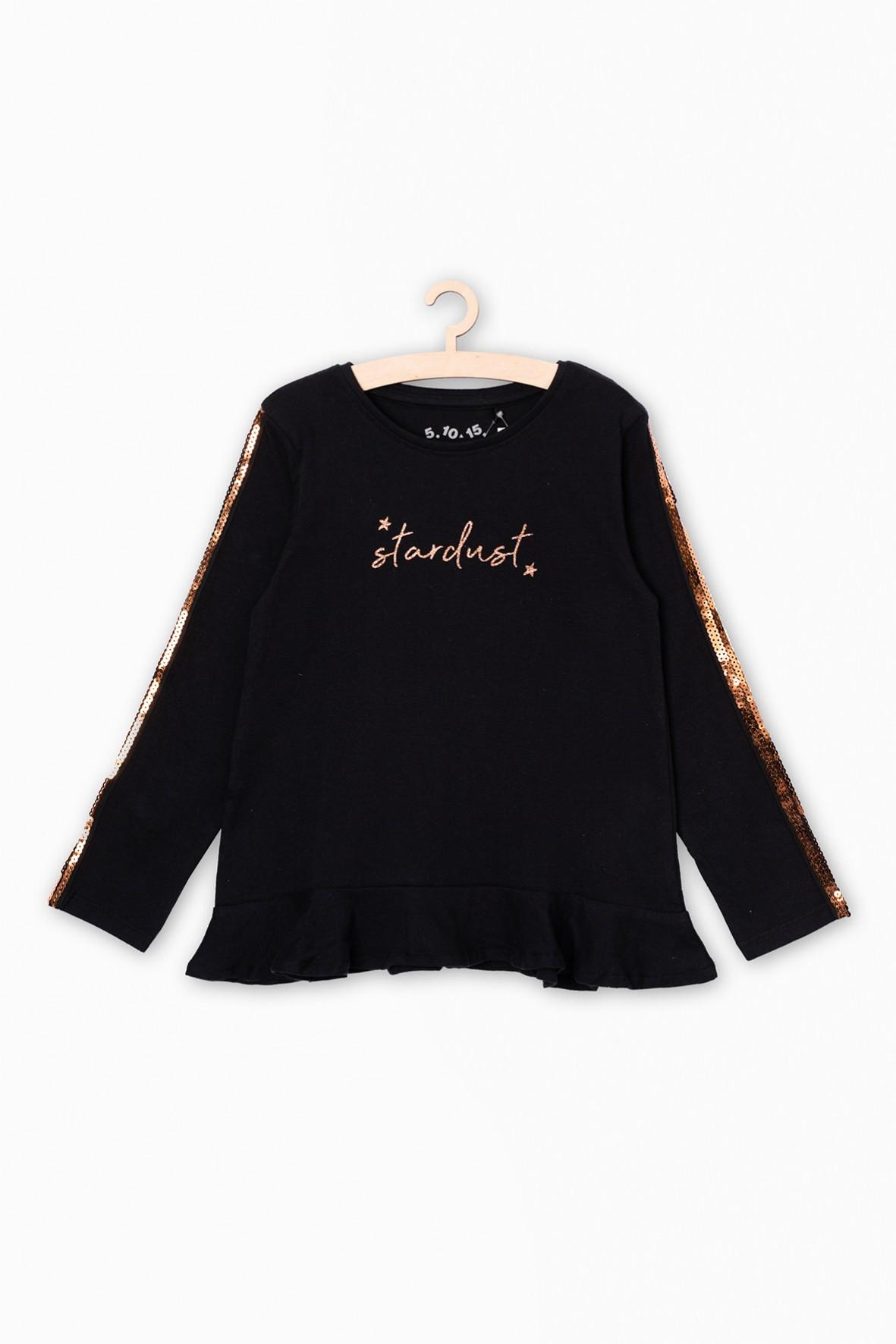 Czarna bluzka z długim rękawem- cekinowe zdobienia