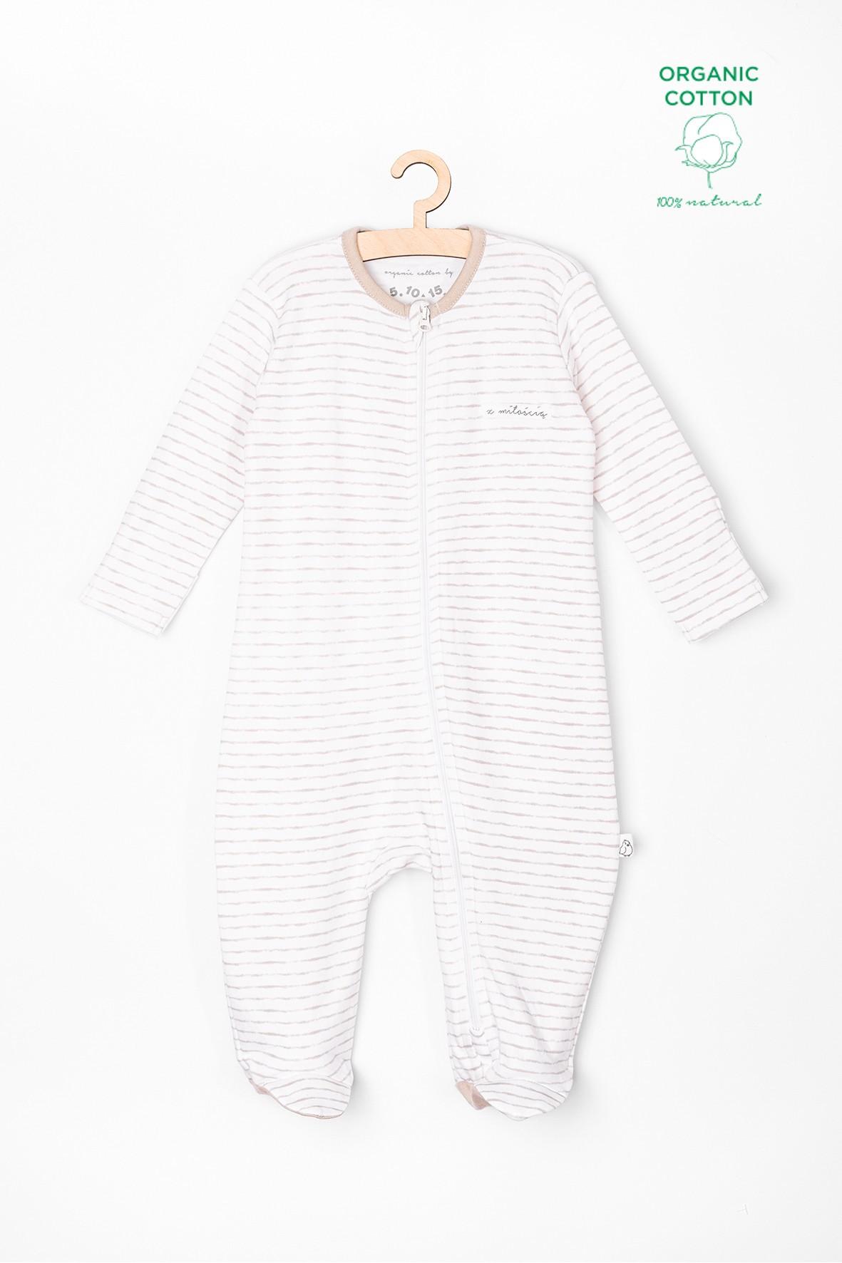 Pajac niemowlęcy z bawełny organicznej-biały w paski