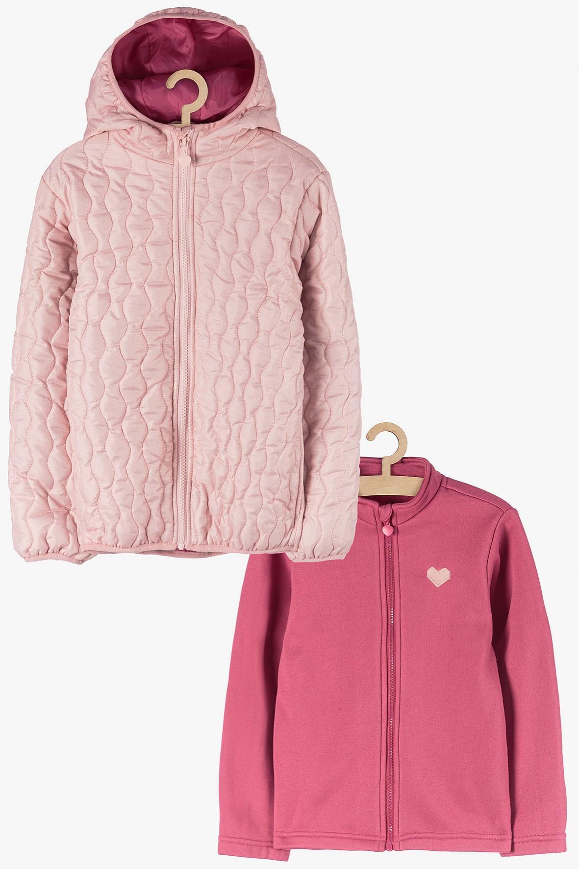 Kurtka dla dziewczynki 3w1 różowa z odpinaną bluzą