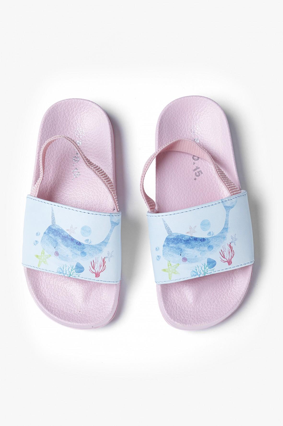 Klapki dziewczęce plażowe z wielorybem