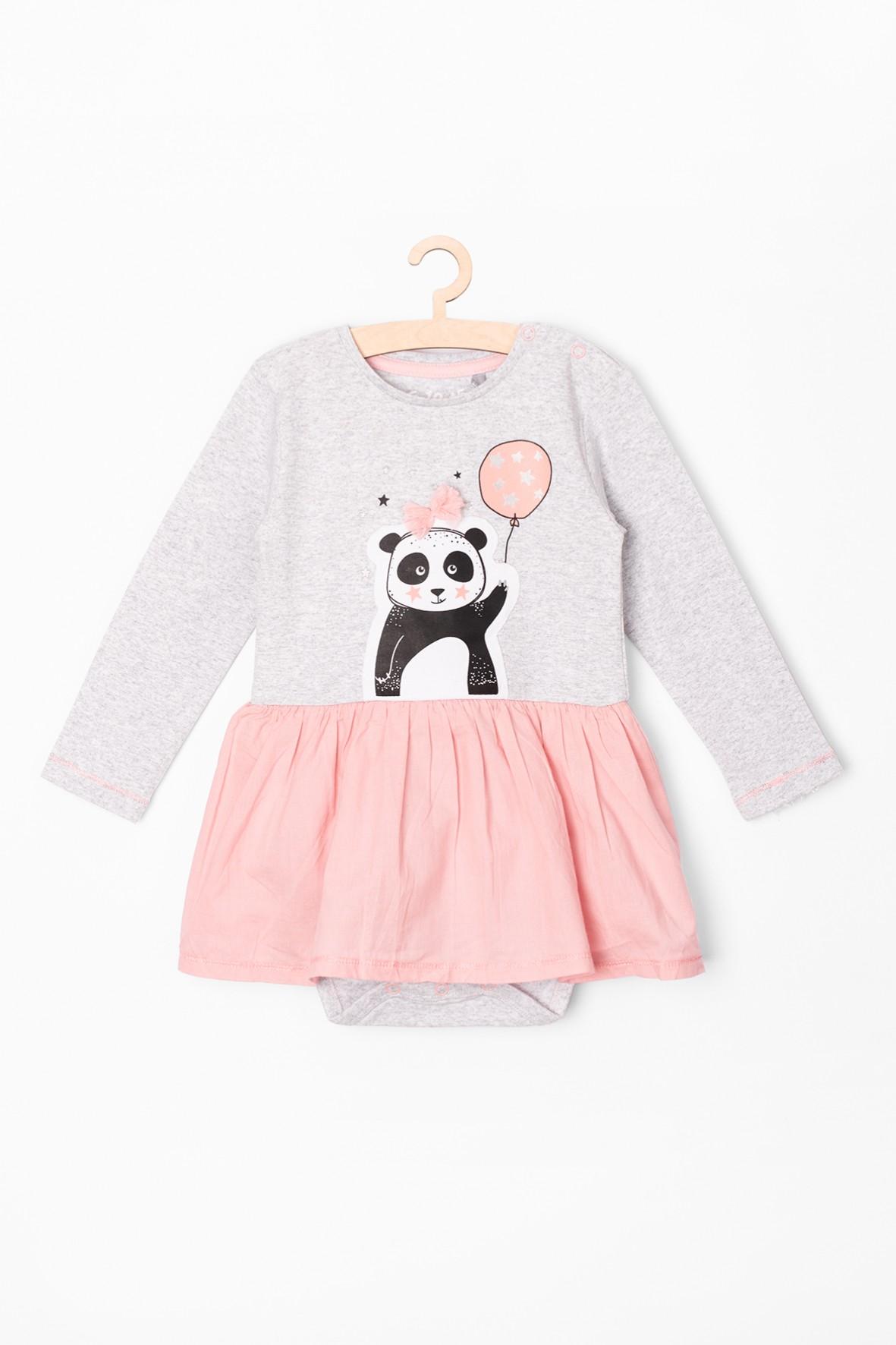 Body dziewczęce ozdobione różową falbanką- z przodu Panda