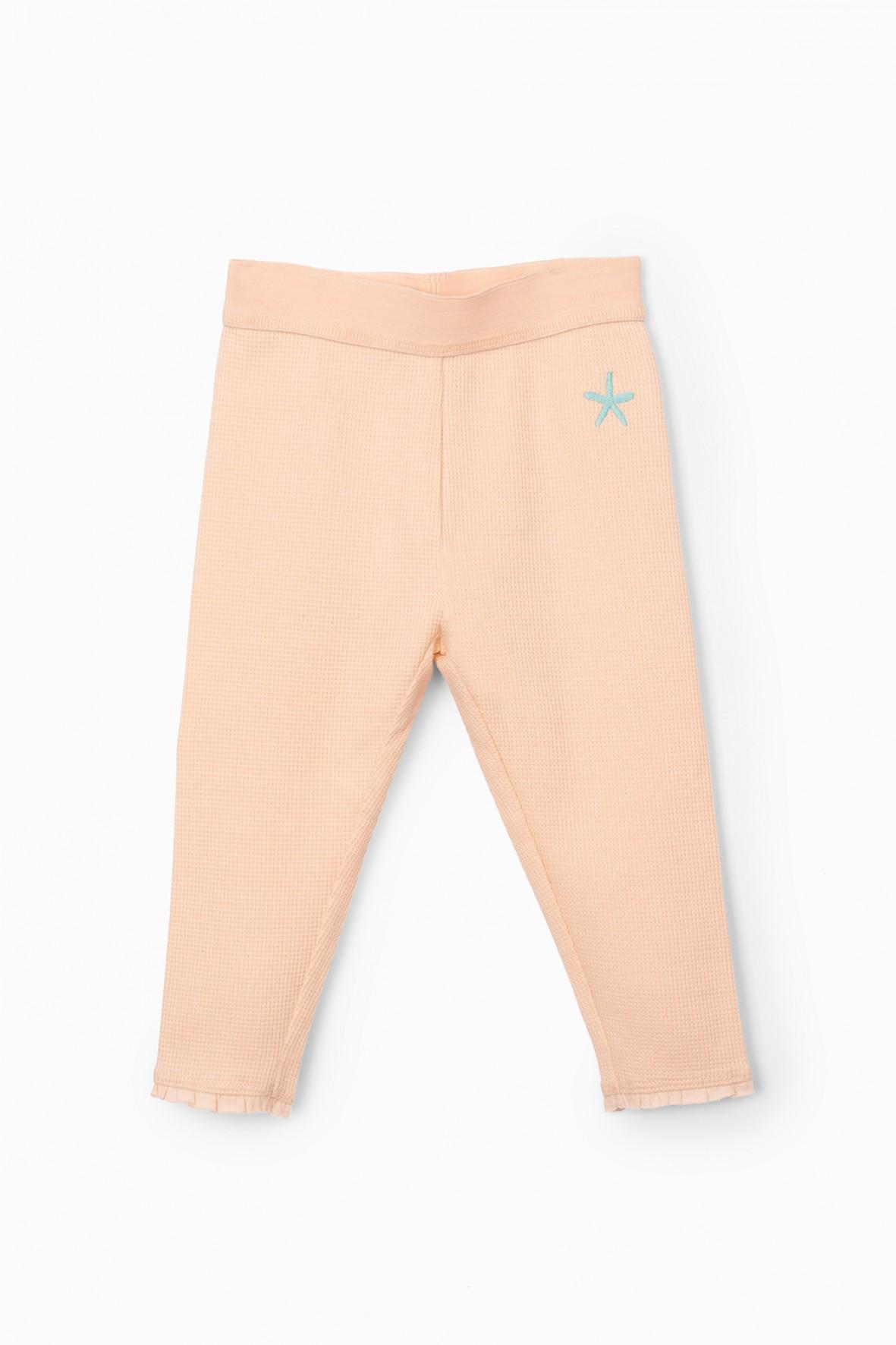 Leginsy z falbankami przy nogawkach - różowe