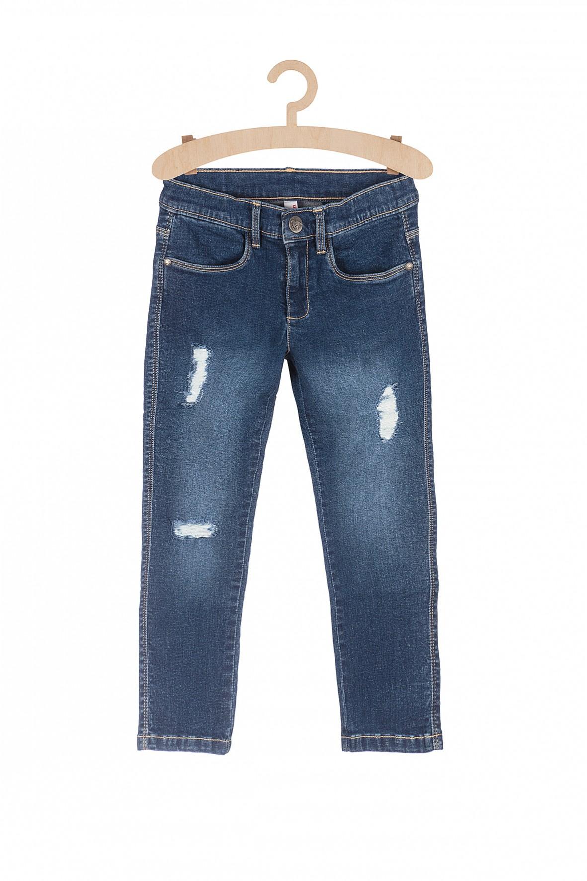 Jeansy dziewczęce z przetarciami-niebieskie