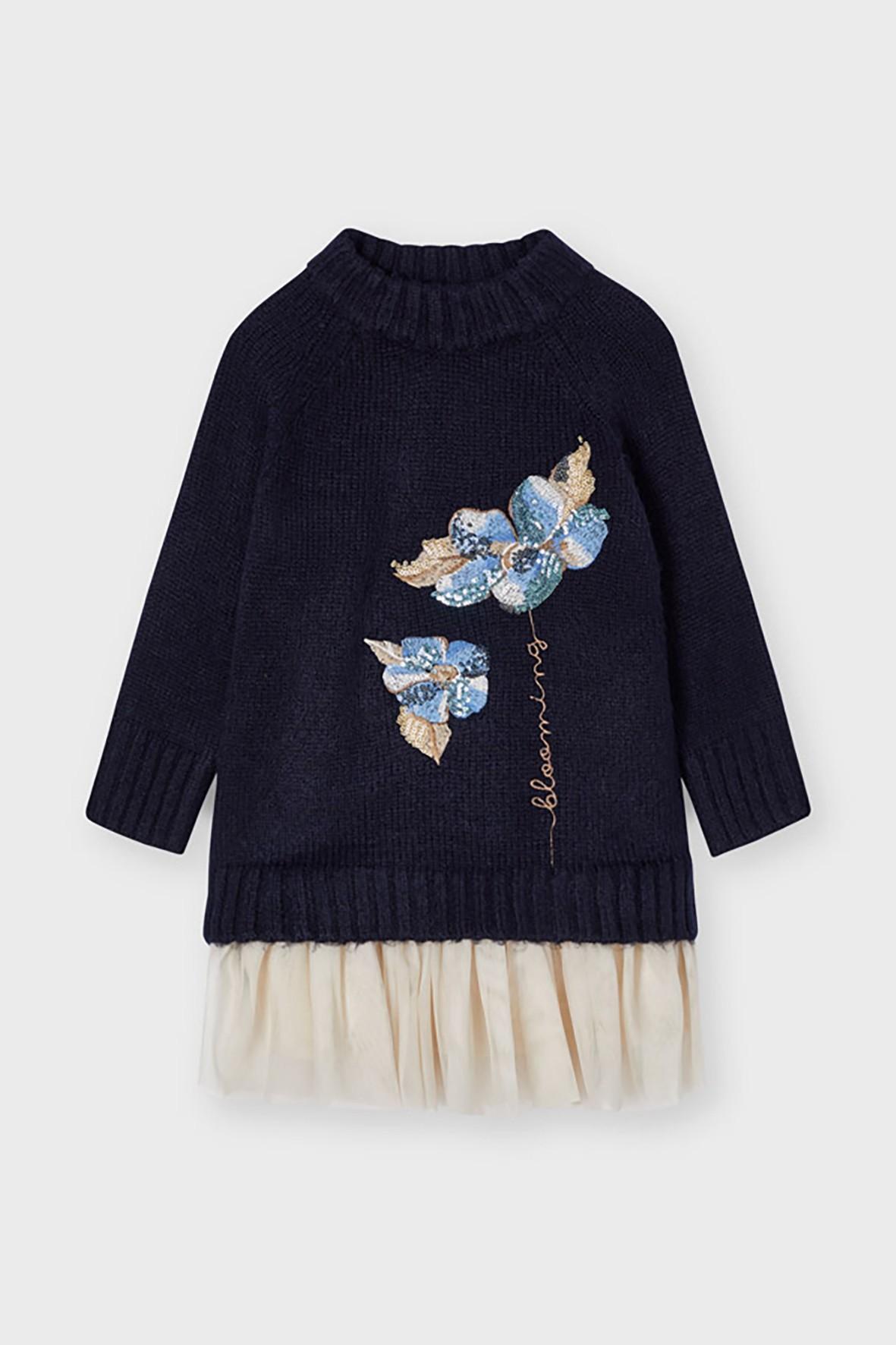 Komplet dziewczęcy - sukienka + granatowy  sweter  z nadrukiem