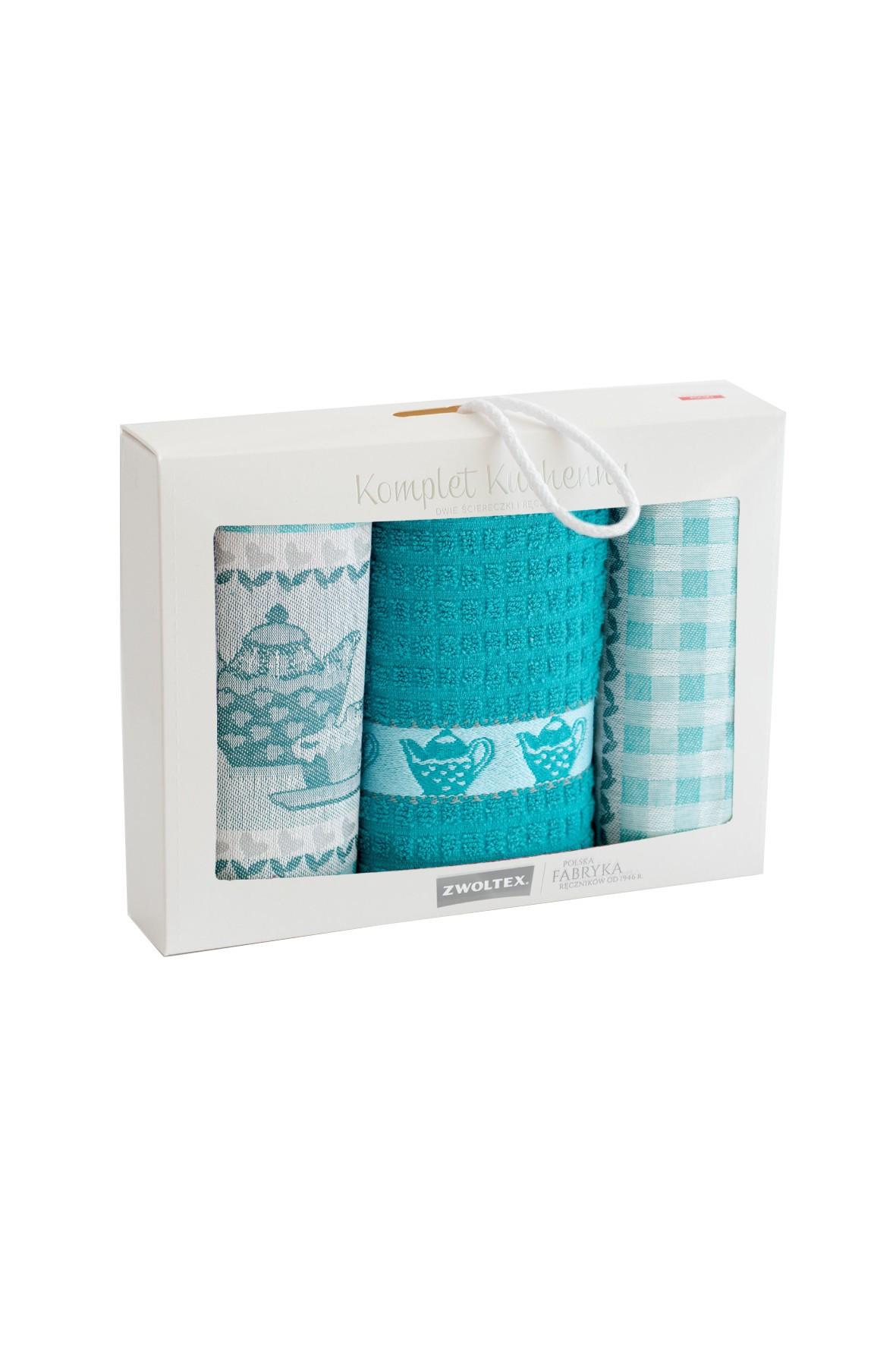 Komplet ściereczek kuchennych + ręcznik PODWIECZOREK 3-pak niebieski