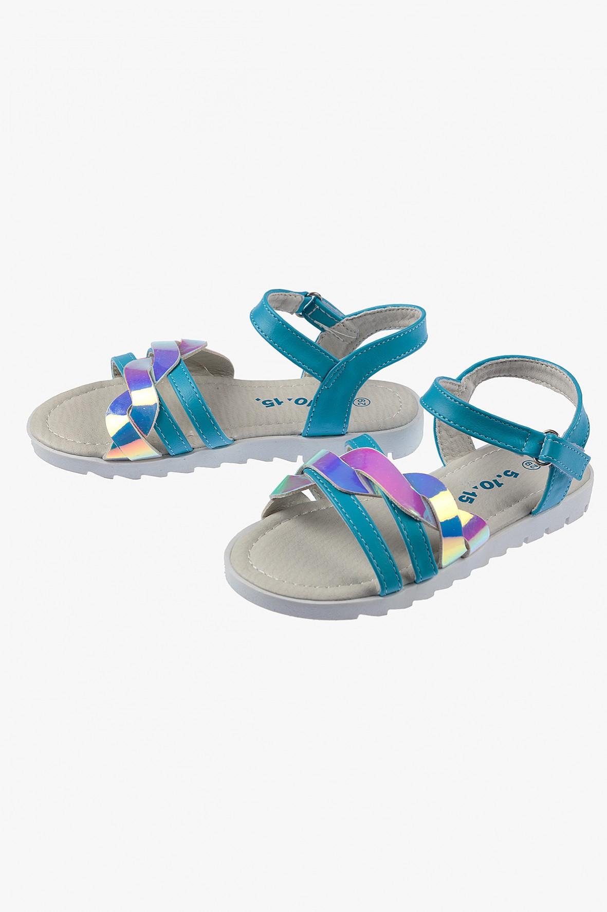 Sandałki dziewczęce niebieskie z holograficznym paskiem