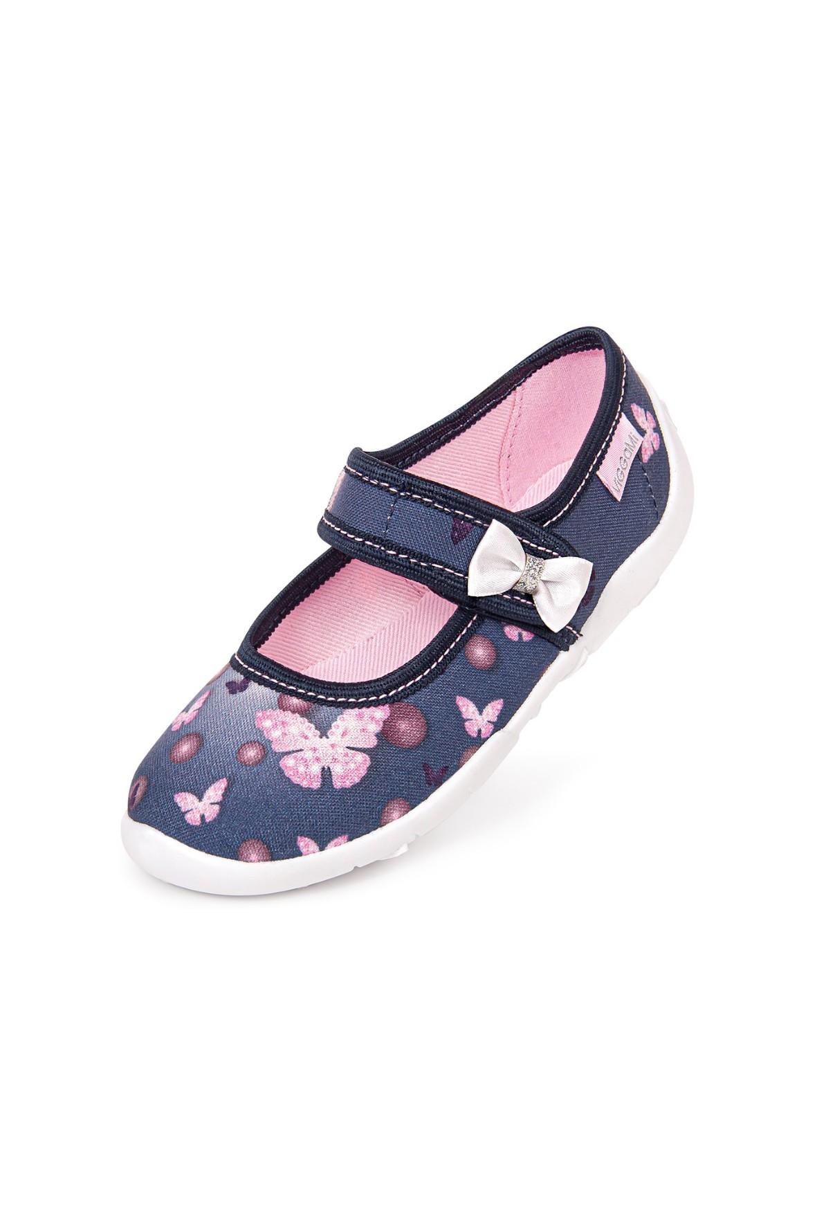 Granatowe kapcie dziewczęce z różowymi motylkami