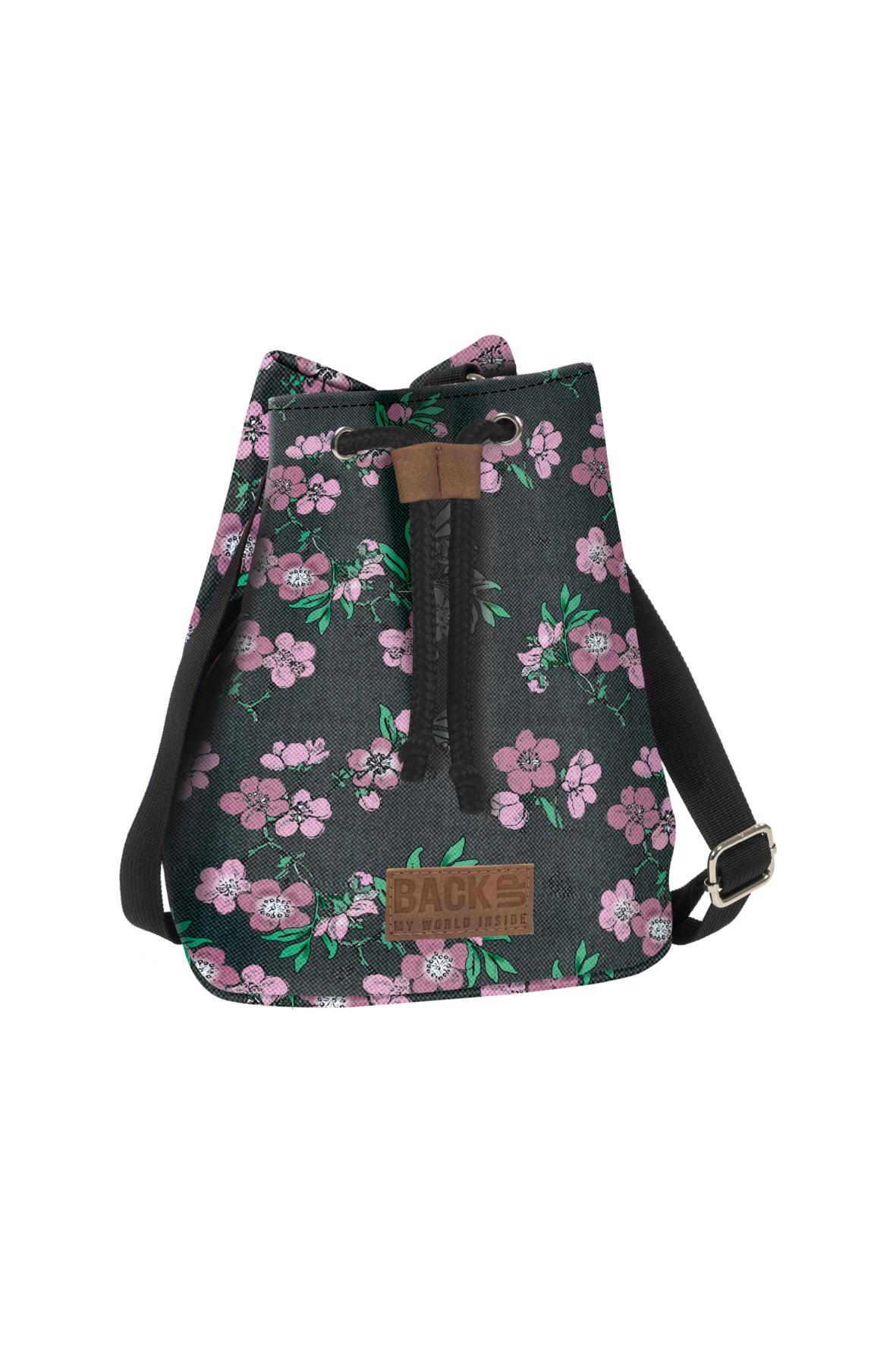 Plecak 2w1 Canvas dziewczęcy szary w kwiaty