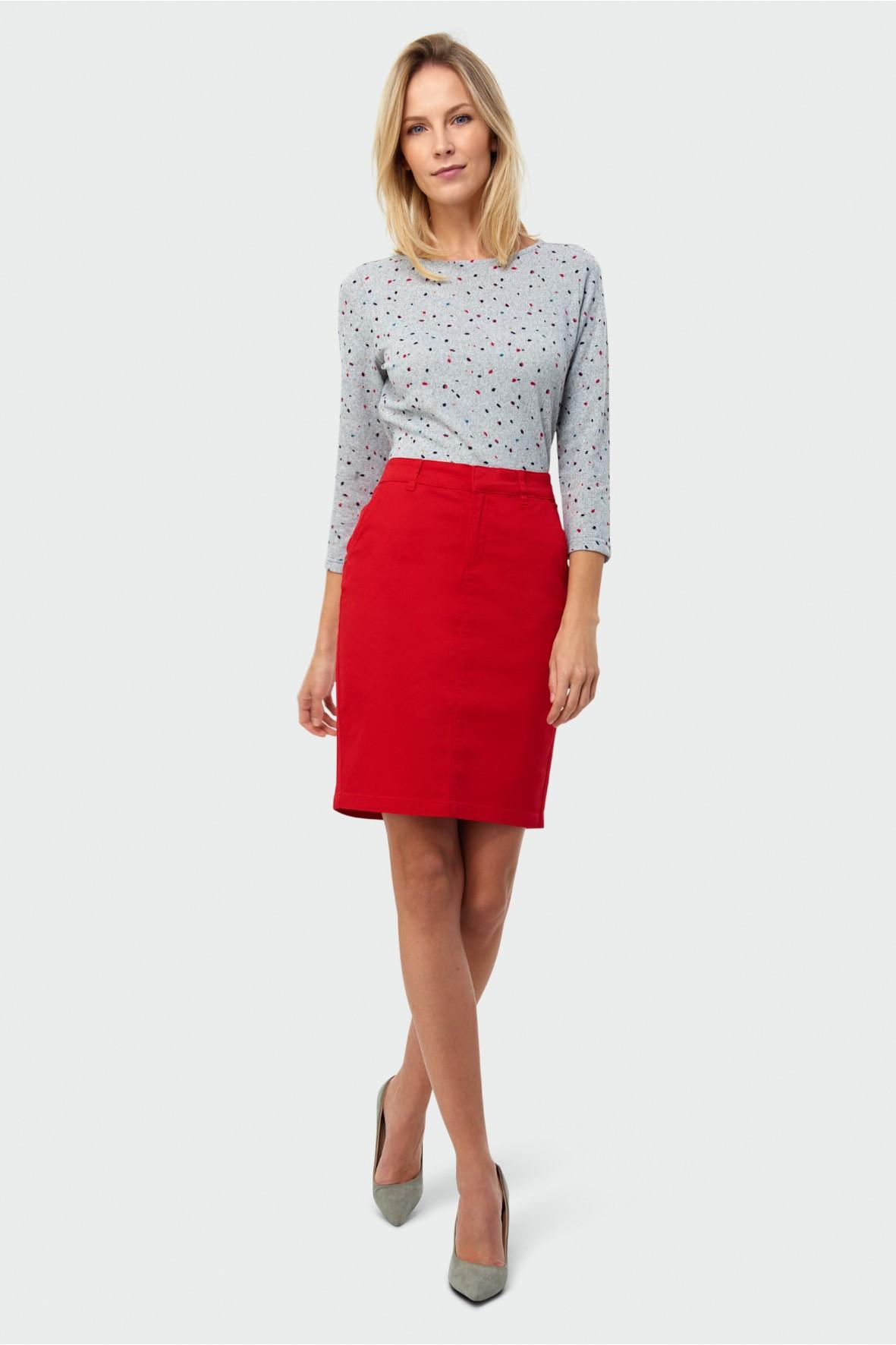 Czerwona ołówkowa spódnica z bawełny