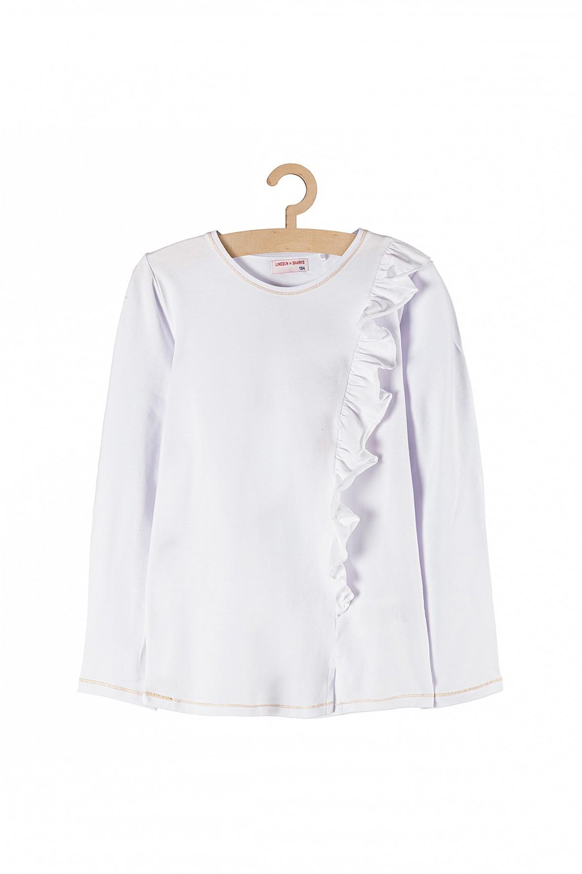 Bluzka dziewczęca biała z ozdobną falbanką