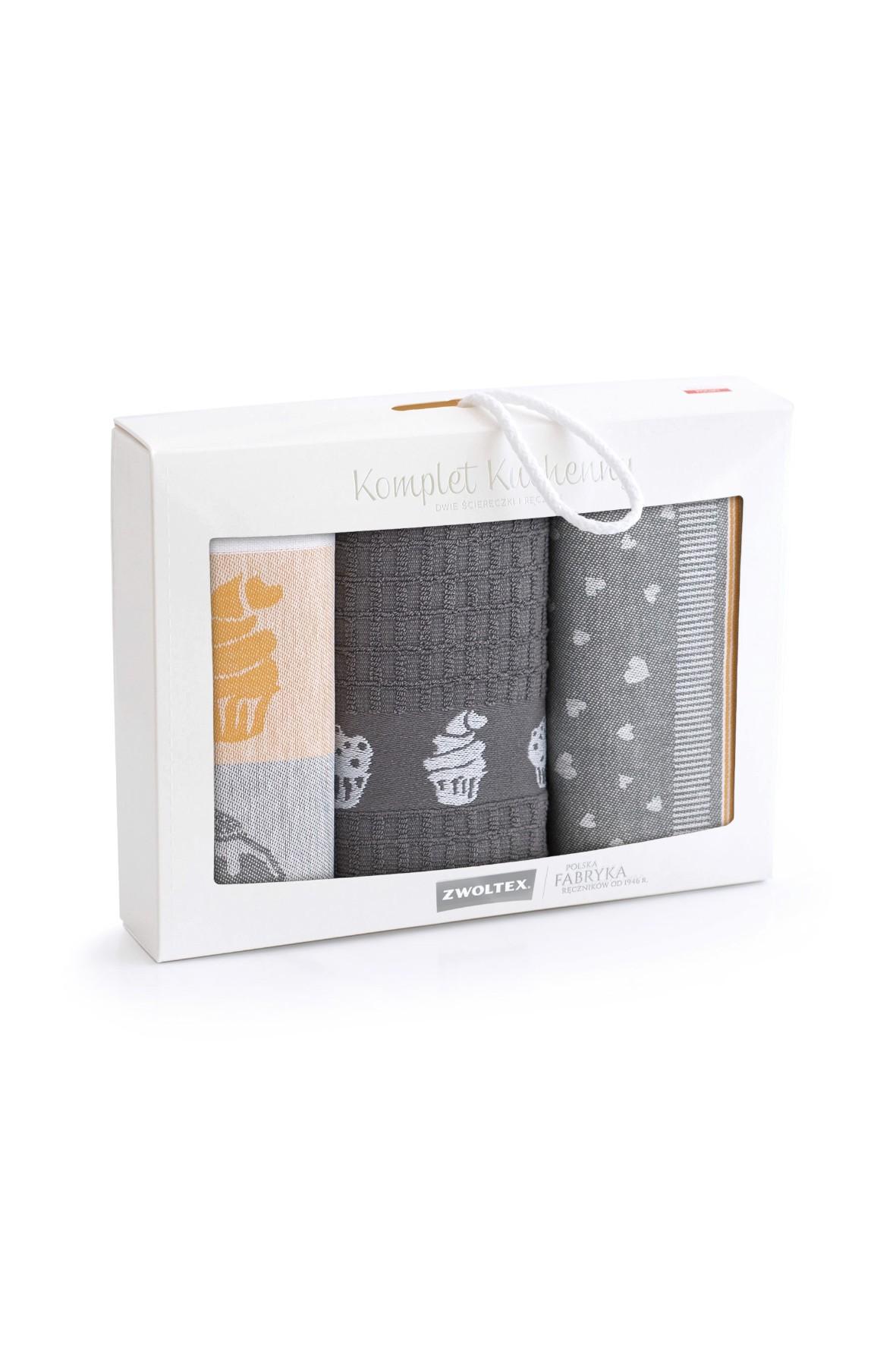Komplet kuchennych ściereczek + ręcznik MUFIN- szaro pomarańczowe 3-pak